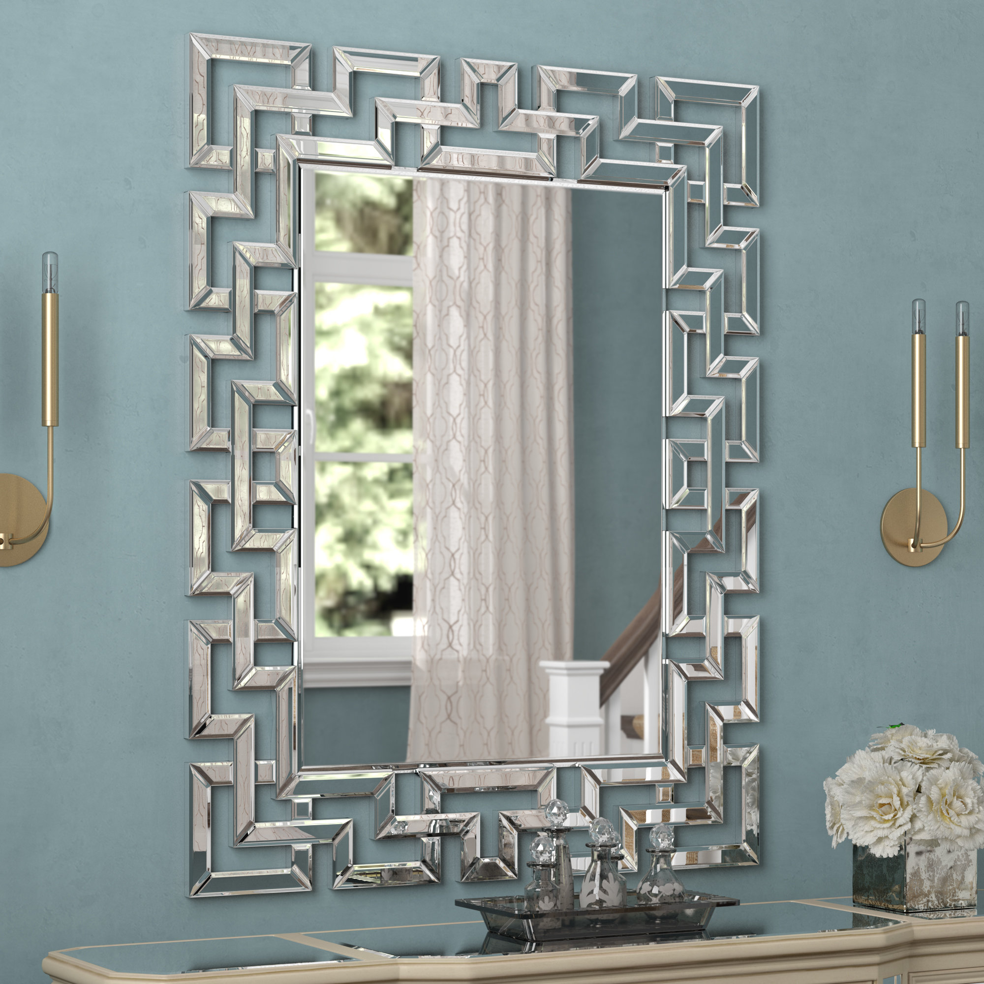 Glam Rectangular Accent Wall Mirror Regarding Caja Rectangle Glass Frame Wall Mirrors (View 4 of 30)