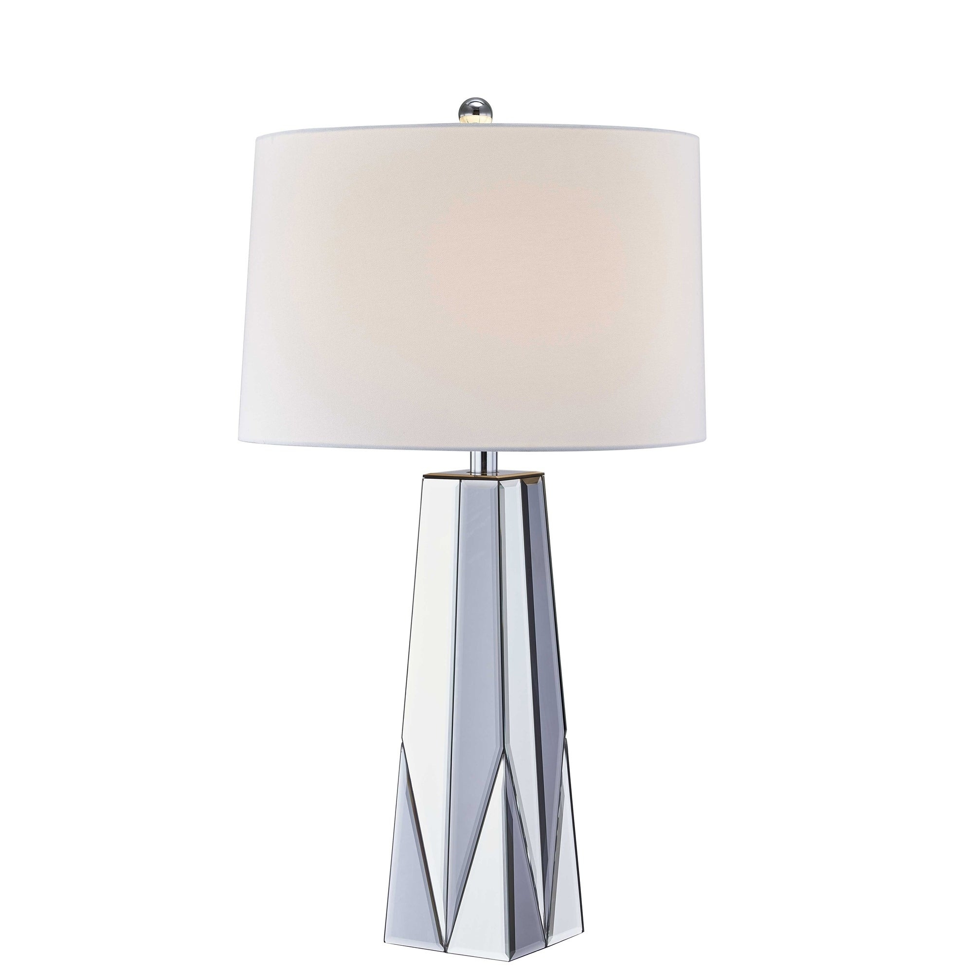 """Glass Tapered Mirror Table Lamp, Silver, 32"""" Throughout Oriana 4 Light Single Geometric Chandeliers (View 27 of 30)"""