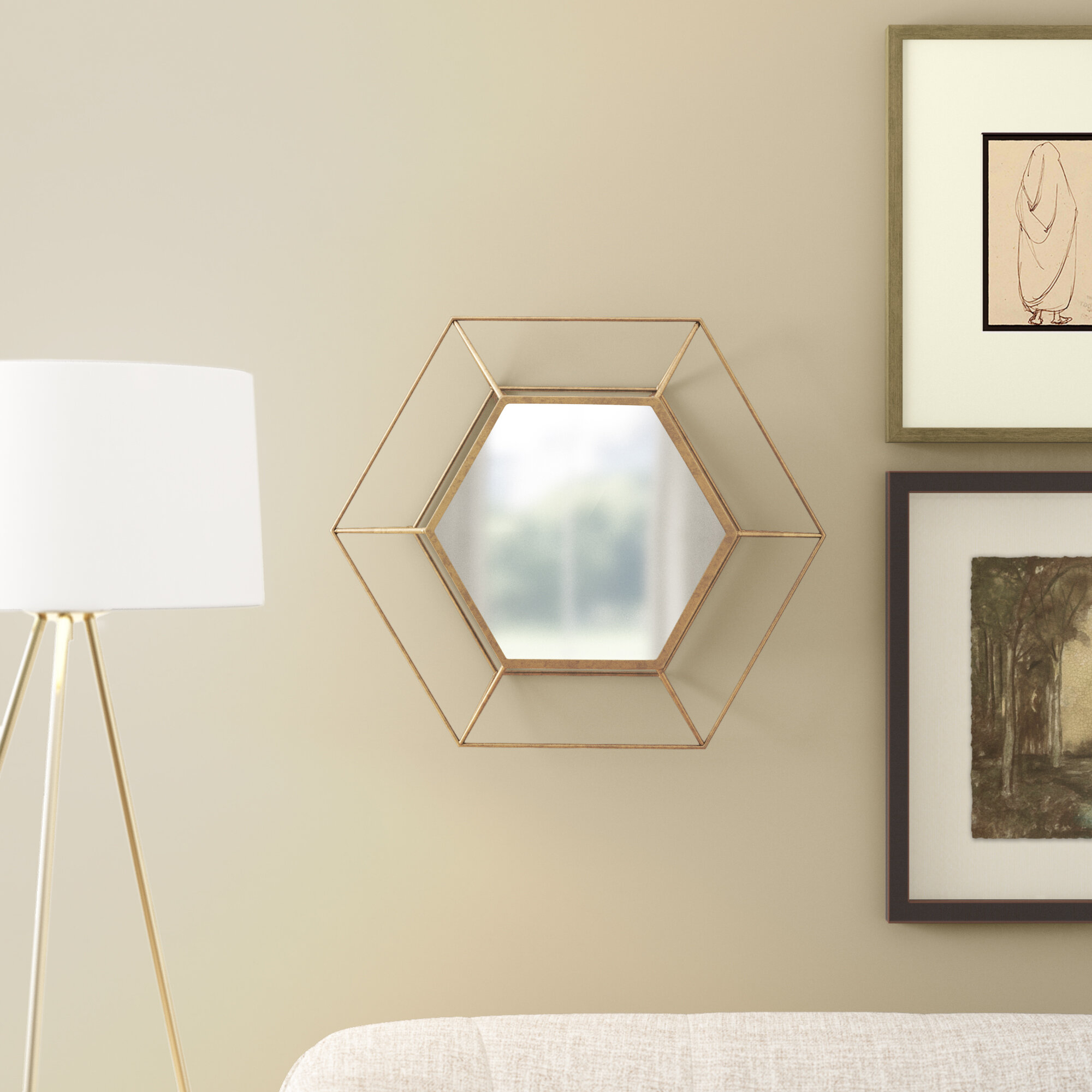 Glasser Hexagon Metal Wall Mirror Regarding Rings Wall Decor By Wrought Studio (View 22 of 30)