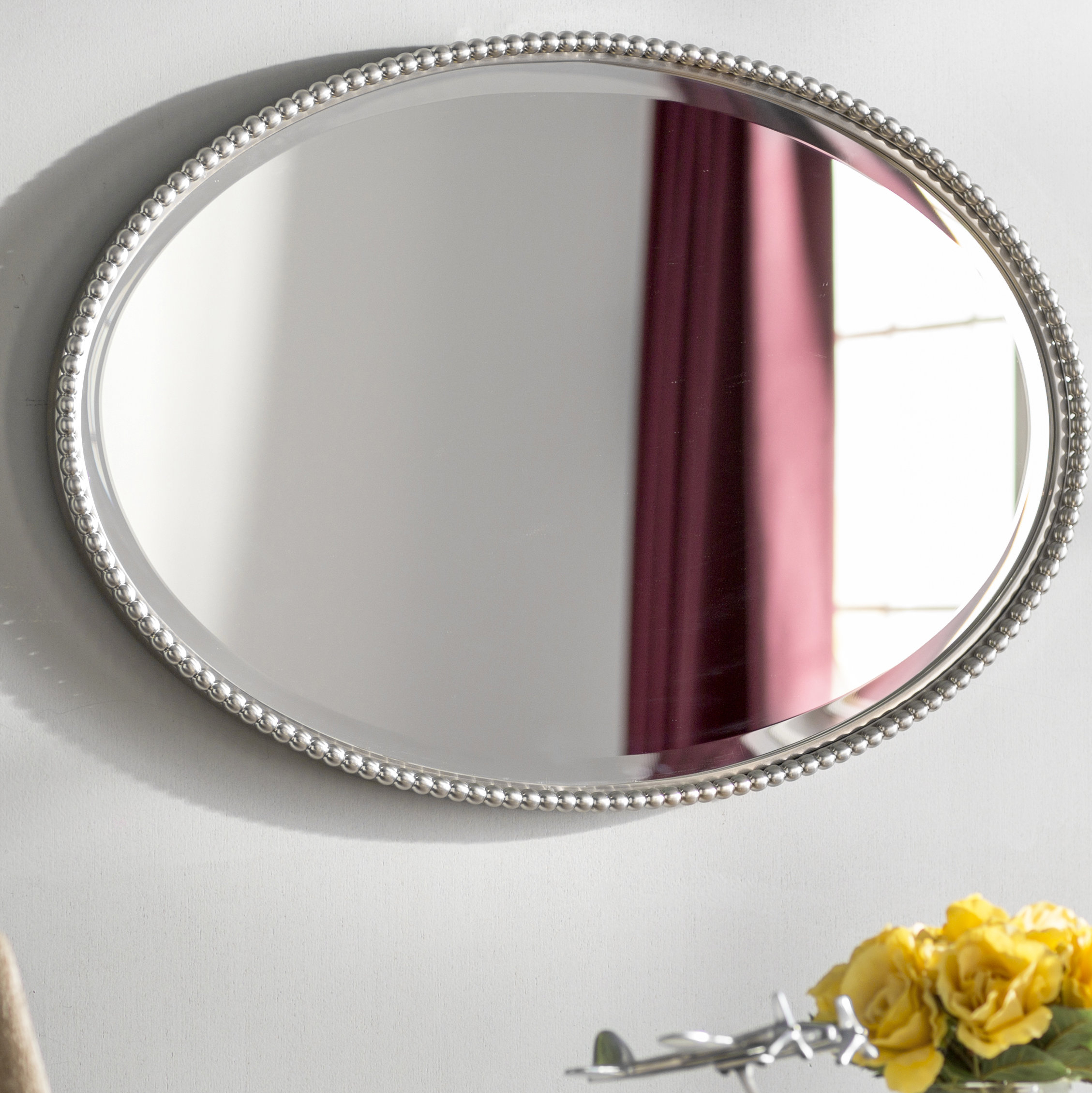Glen View Beaded Oval Mirror Regarding Beaded Accent Wall Mirrors (View 13 of 30)