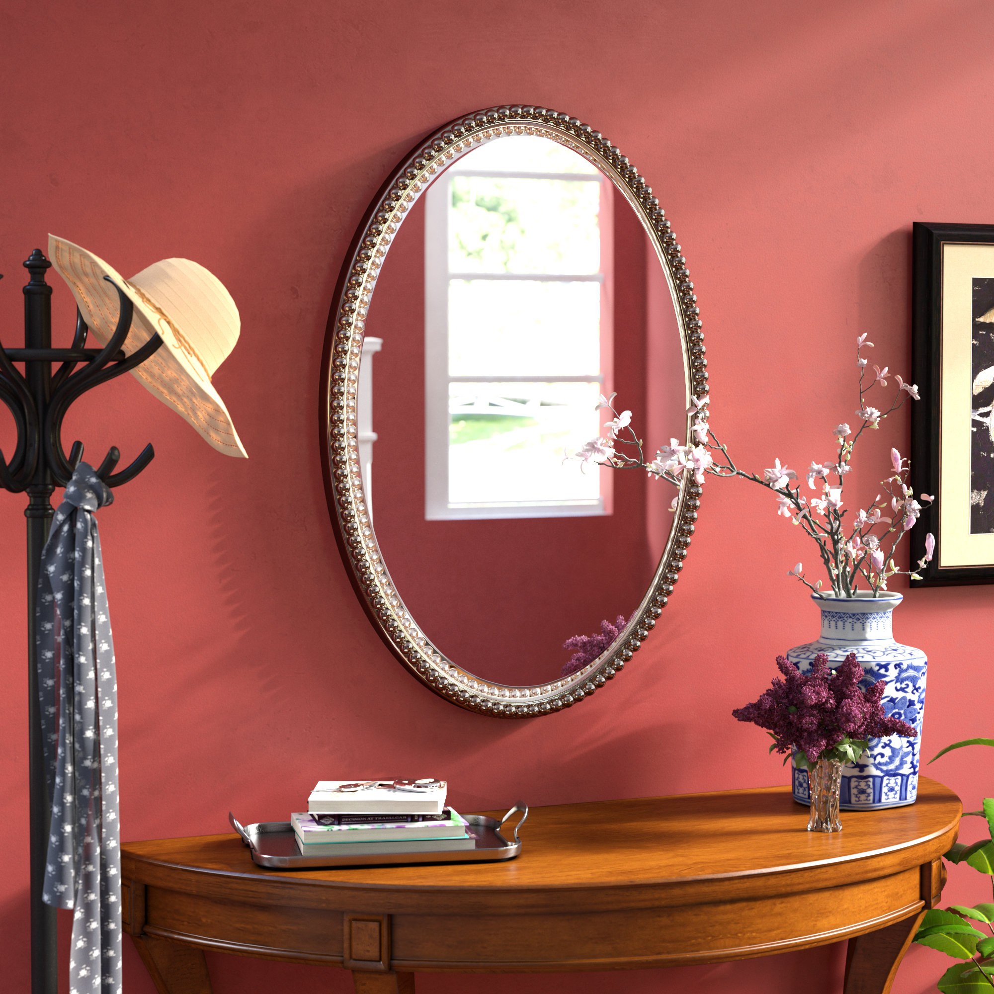 Glen View Beaded Oval Traditional Accent Mirror Inside Beaded Accent Wall Mirrors (View 14 of 30)
