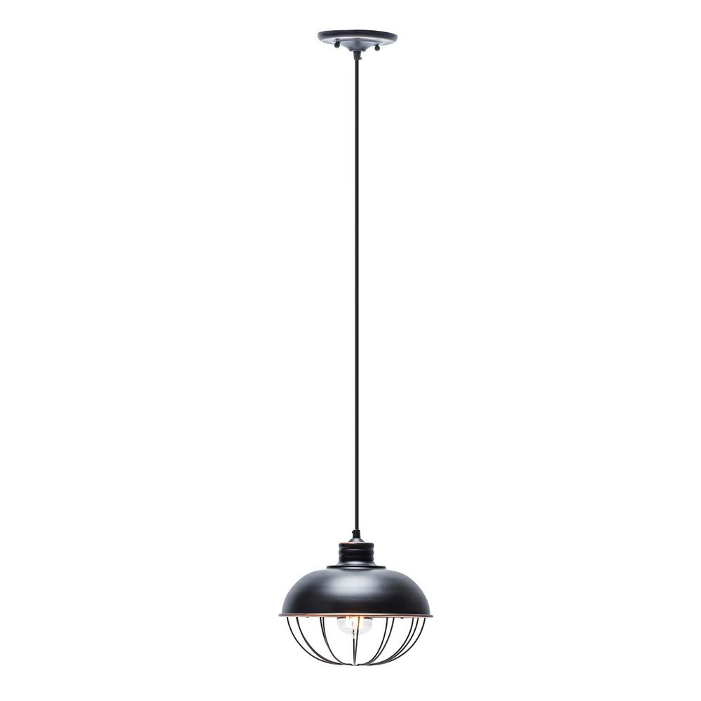 Globe Electric 1 Light Oil Rubbed Bronze Vintage Hanging Half Moon Caged Pendant With Black Cord For Demi 1 Light Globe Pendants (View 5 of 30)