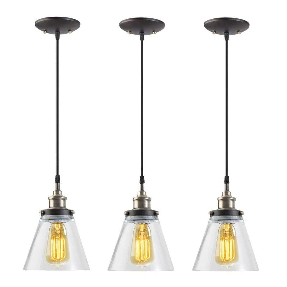 Globe Electric Jackson 1 Light Vintage Edison Antique Brass Bronze And Black Hanging Pendant (3 Pack) Regarding Vintage Edison 1 Light Bowl Pendants (View 11 of 30)