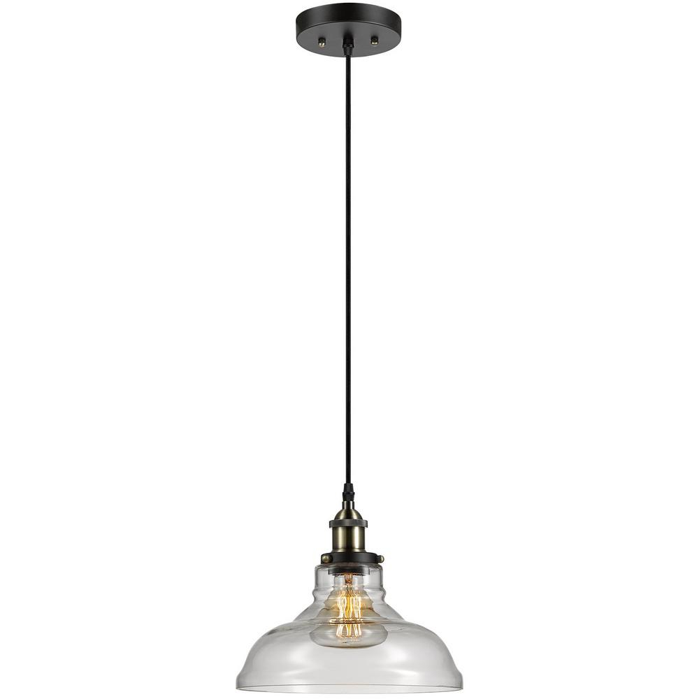 Globe Electric Latiya 1 Light Antique Brass And Bronze Hanging Pendant Within Vintage Edison 1 Light Bowl Pendants (View 13 of 30)