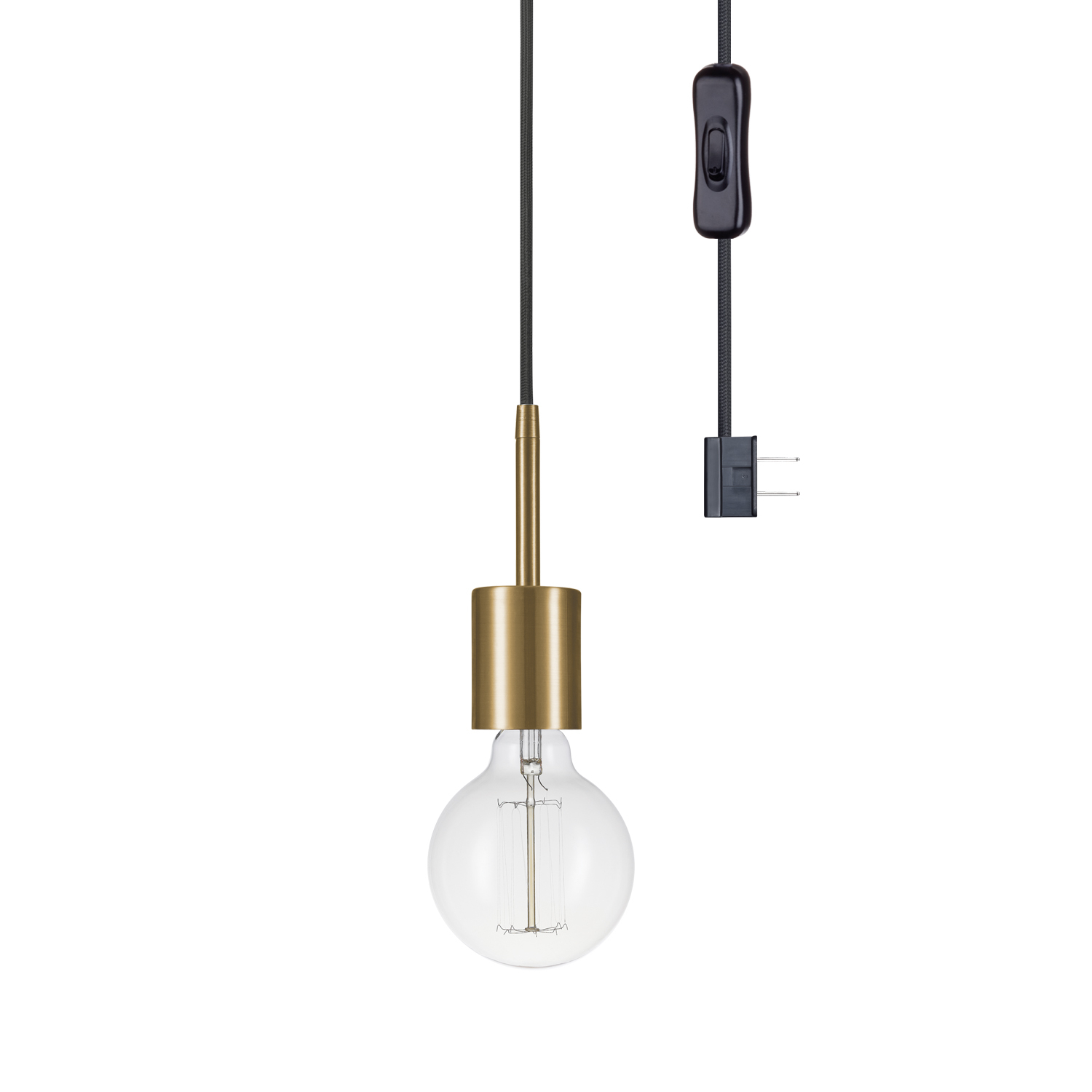 Globe Electric Leila 1-Light Brass Plug-In Pendant,65980 regarding 1-Light Globe Pendants (Image 16 of 30)