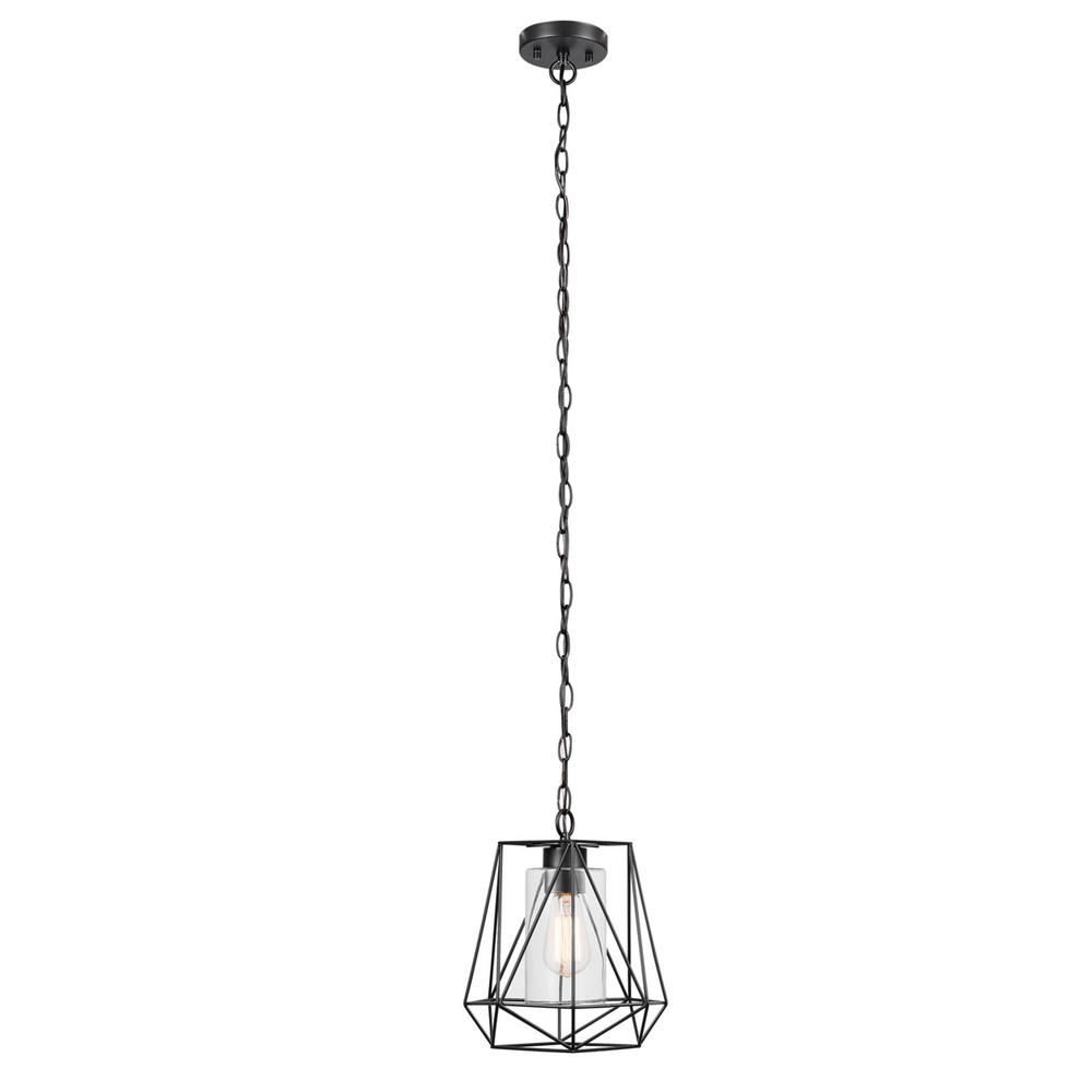 Globe Electric Sansa 1 Light Black Outdoor/indoor Hanging Pendant Intended For 1 Light Geometric Globe Pendants (View 17 of 30)