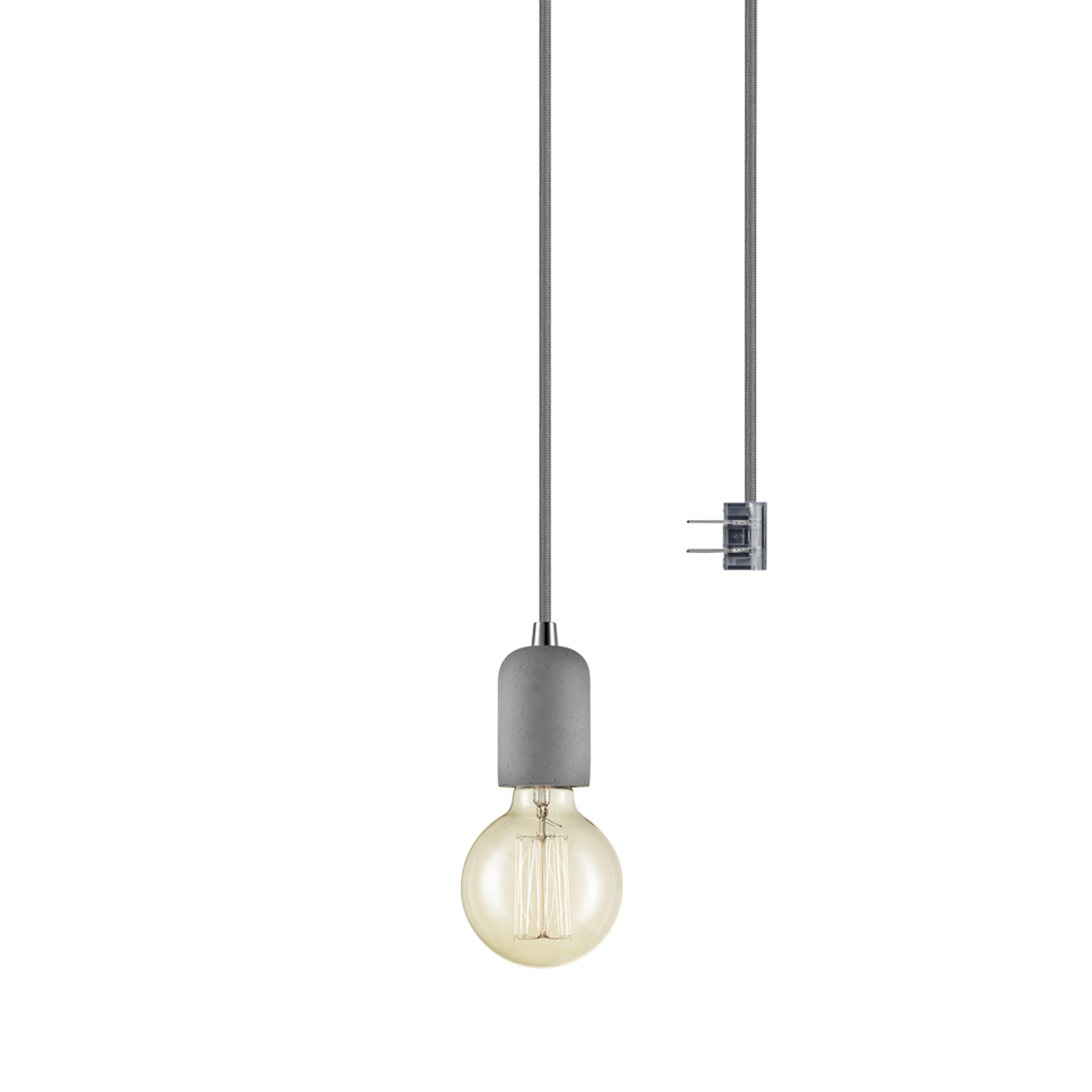 Globe Electric Virginia 1 Light Plug In Or Hardwire Concrete Mini Pendant,65857 In Vintage Edison 1 Light Bowl Pendants (View 7 of 30)