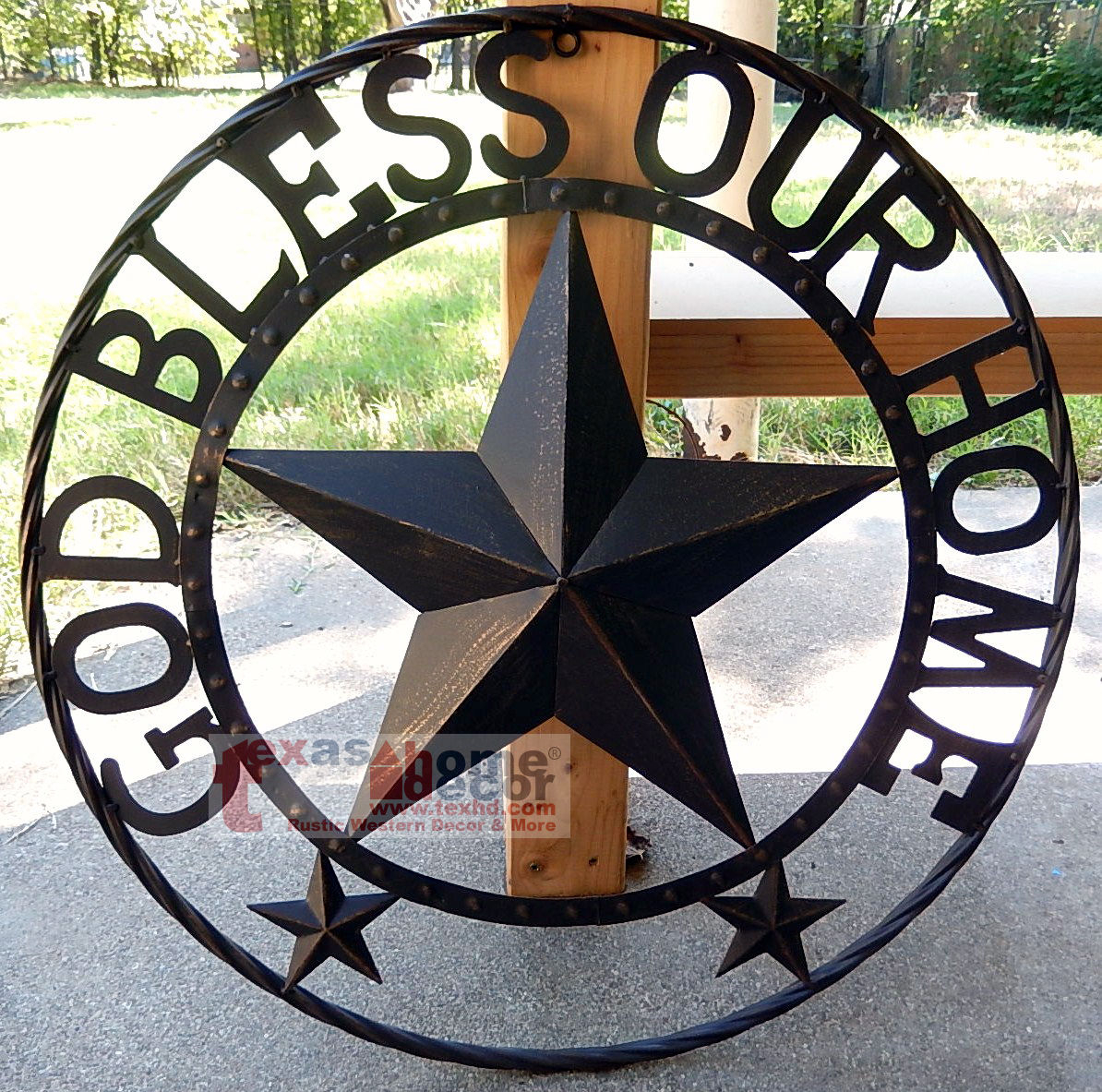 """God Bless Our Home Metal Barn Star Rustic Brown Texas Rope Ring Wall Decor  24"""" for Metal Rope Wall Sign Wall Decor (Image 18 of 30)"""
