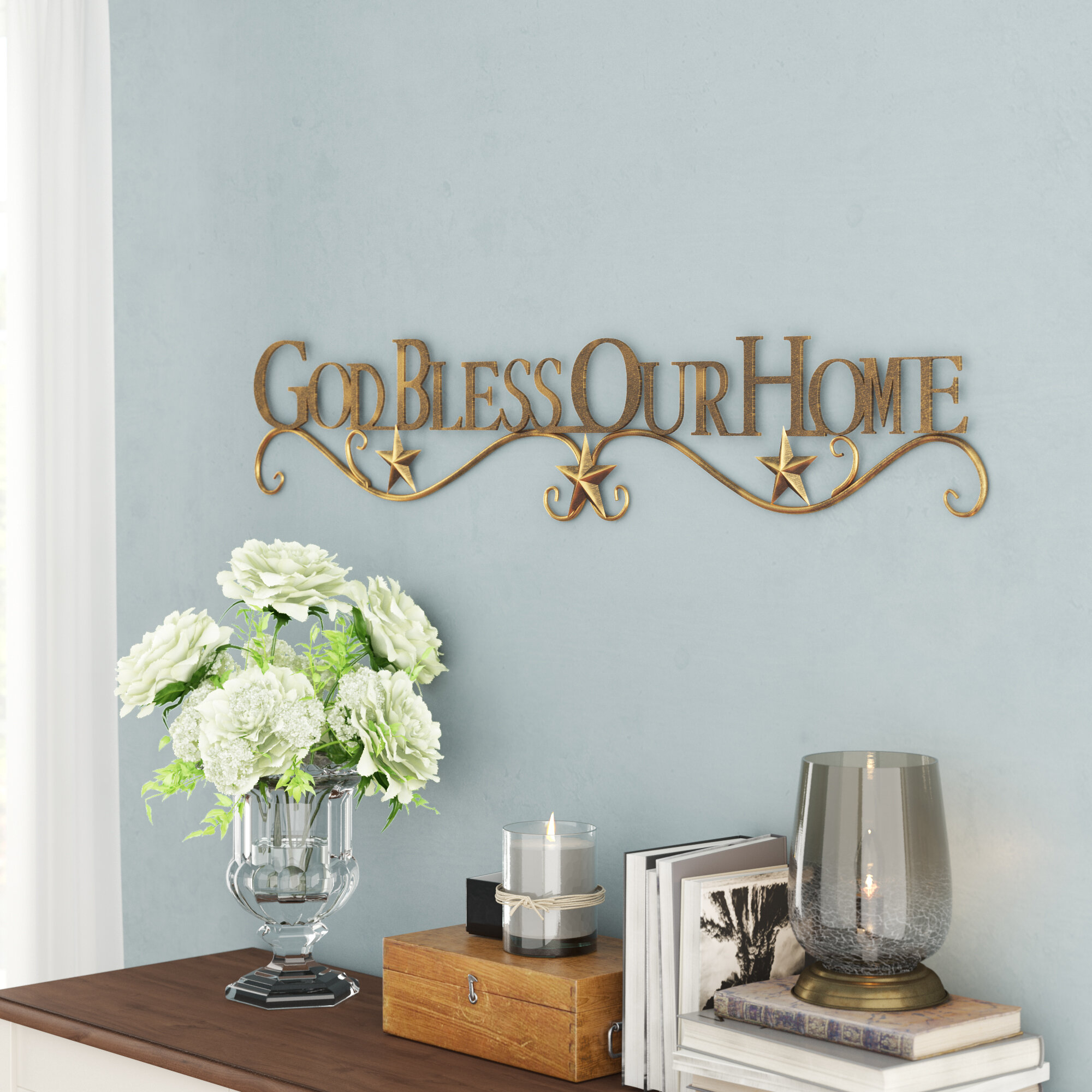 God Bless Our Home Wall Décor inside Sign Wall Decor by Charlton Home (Image 18 of 30)