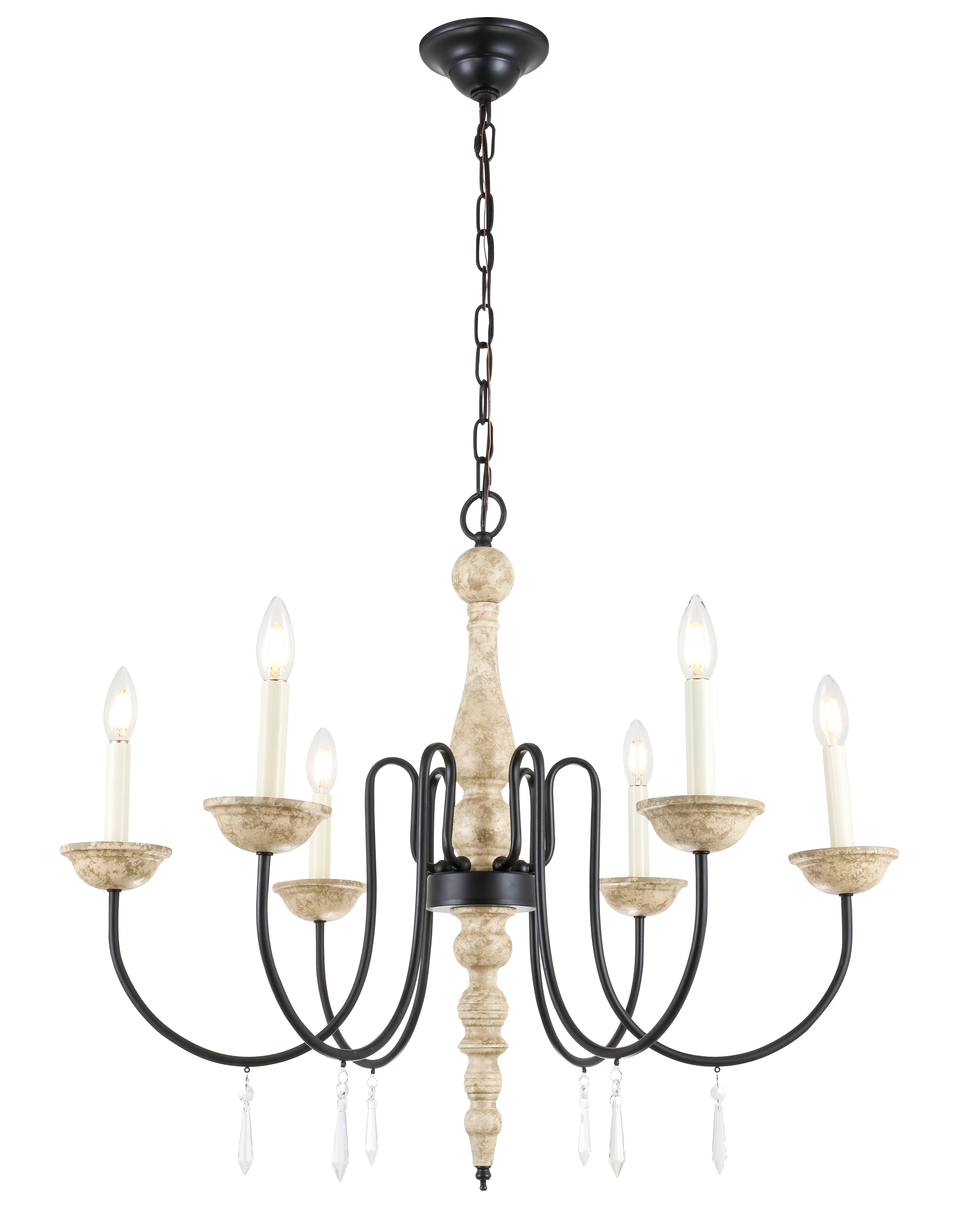 Goguen 6 Light Candle Style Chandelier In Shaylee 6 Light Candle Style Chandeliers (View 11 of 30)