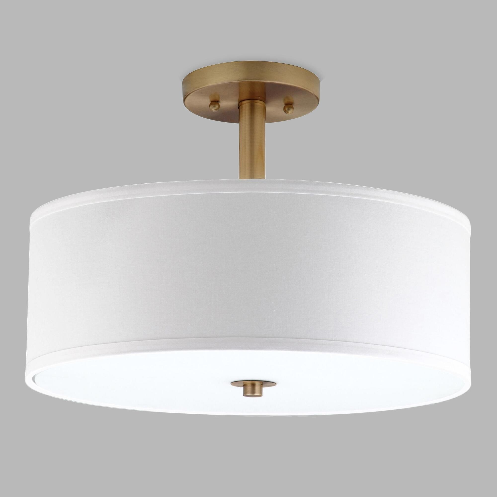 Gold And White Flush Mount Alysian Ceiling Light: Metallic within Hermione 1-Light Single Drum Pendants (Image 13 of 30)