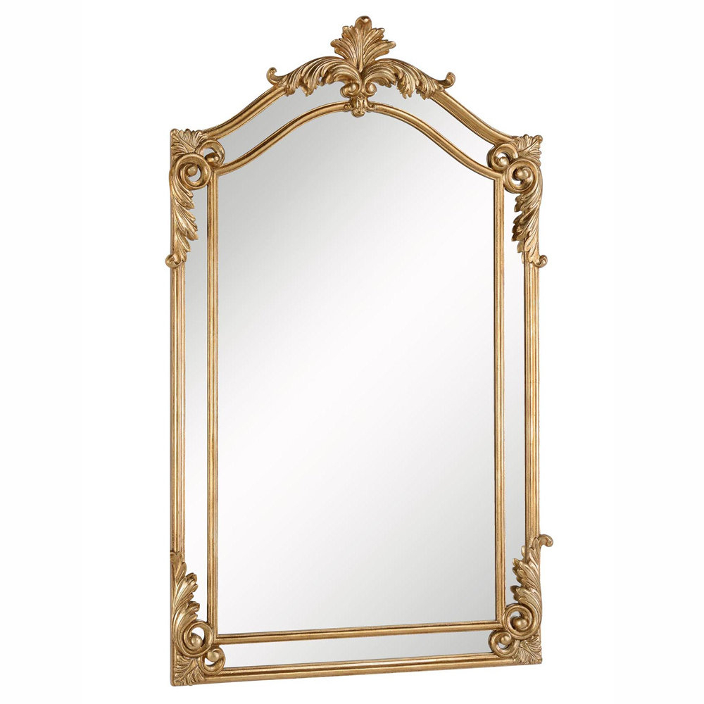 Gold Arch/crowned Top Wood Traditional Beveled Wall Mirror In Gold Arch Wall Mirrors (View 13 of 30)