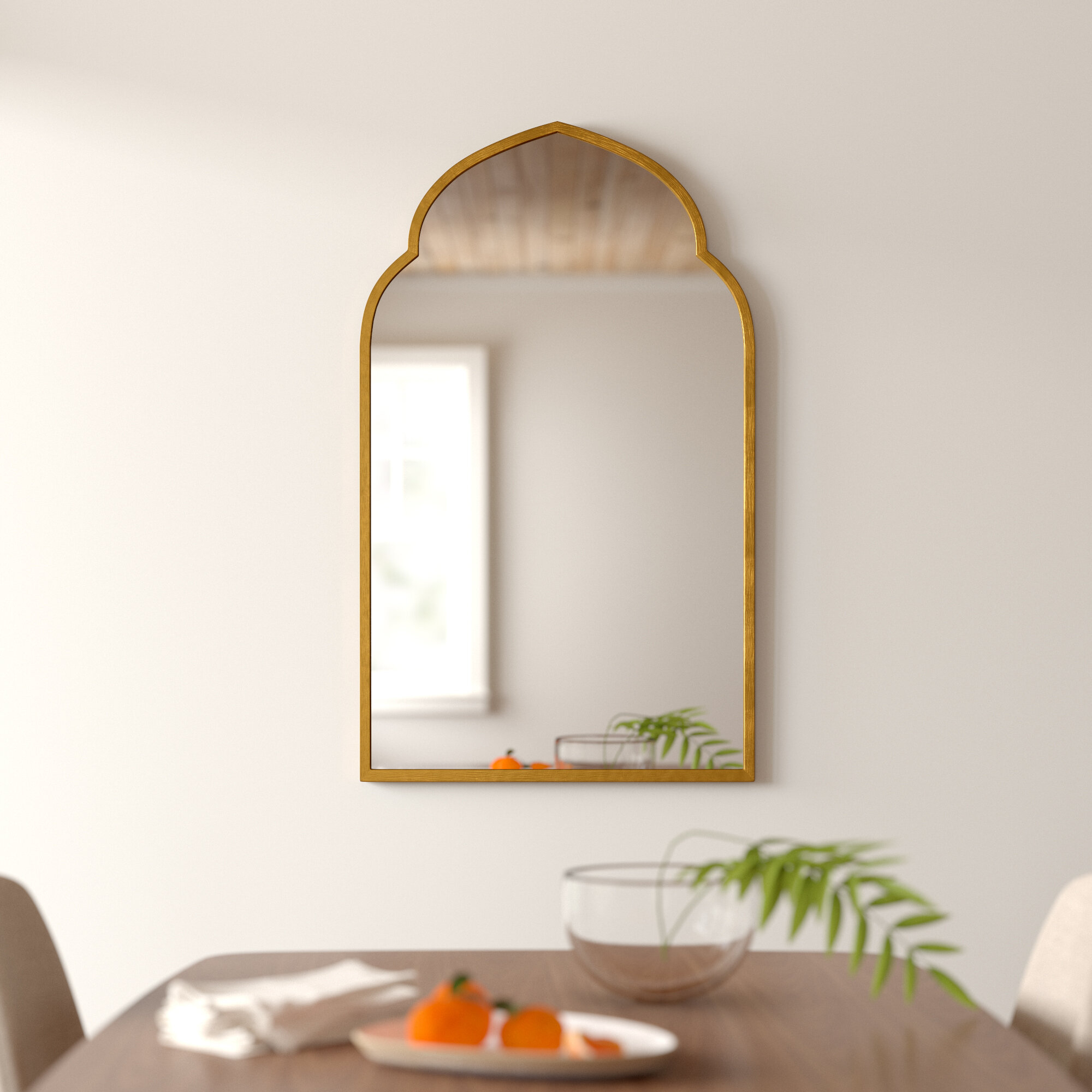 Gold Arch Wall Mirror within Dariel Tall Arched Scalloped Wall Mirrors (Image 13 of 30)