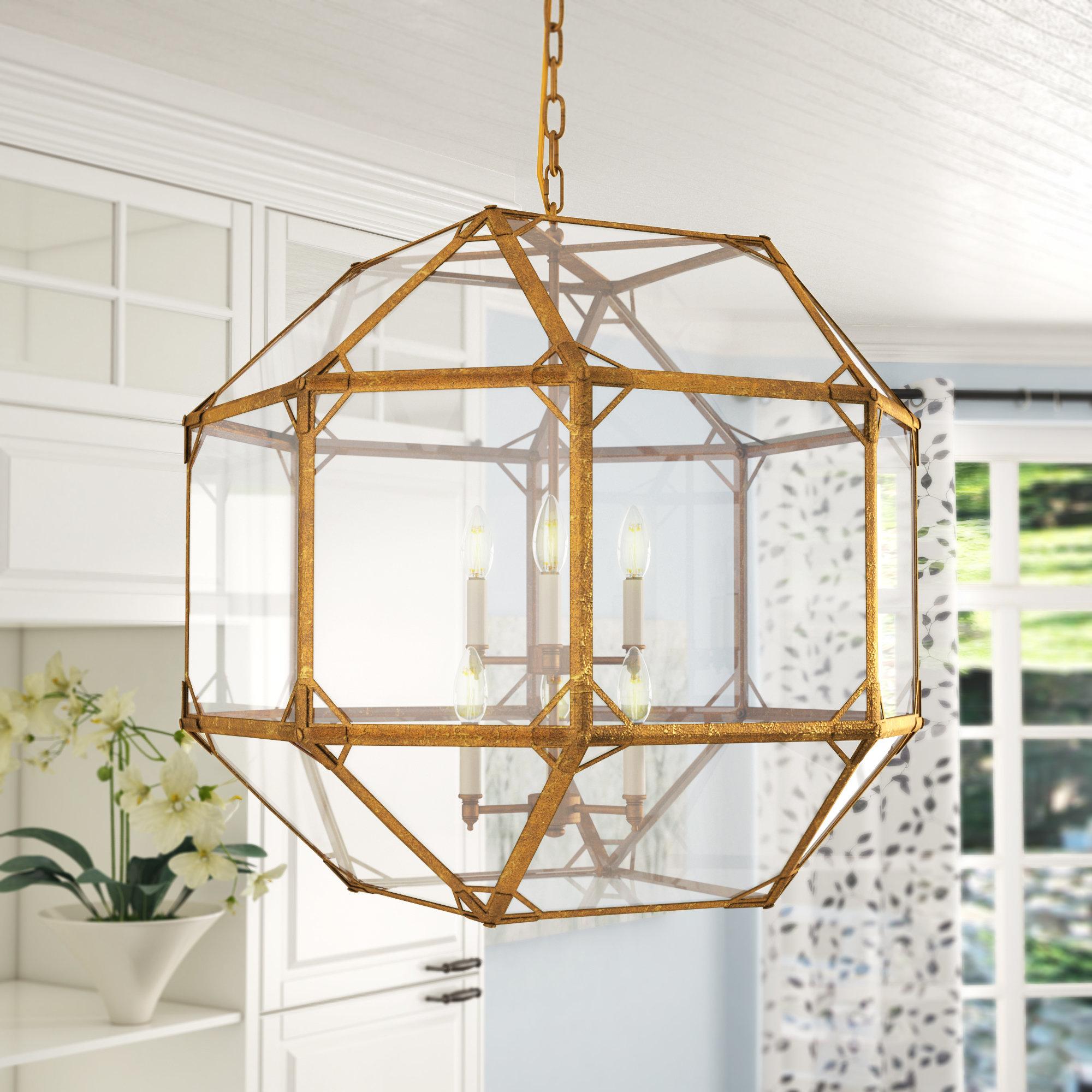 Gold Geometric Light Fixture | Wayfair With Nisbet 4 Light Lantern Geometric Pendants (View 20 of 30)