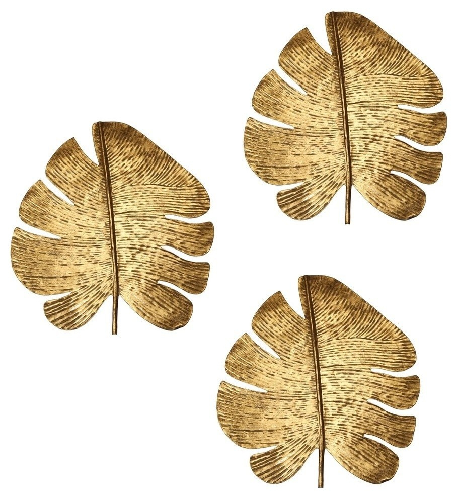Gold Leaf Wall Art, Set Of 3 pertaining to Set of 3 Contemporary 6, 9, and 11 Inch Gold Tin Starburst Sculptures (Image 13 of 30)