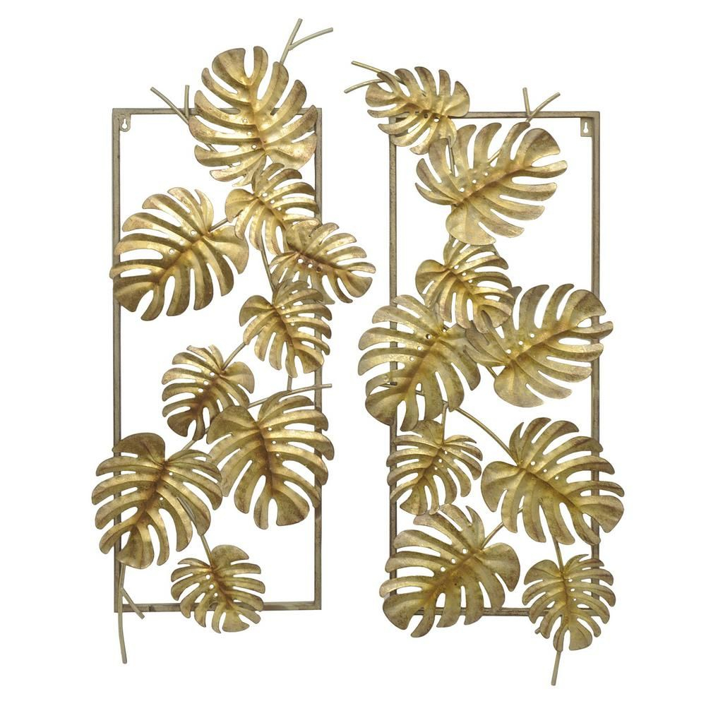 Gold Metal Tropical Leaves Wall Decor (set Of 2) | Products Regarding 4 Piece Metal Wall Plaque Decor Sets (View 18 of 30)
