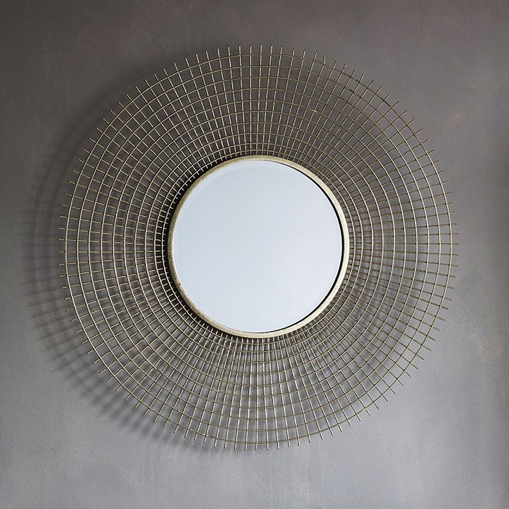 Gold Round Wirework Wall Mirror Throughout Industrial Modern & Contemporary Wall Mirrors (View 9 of 30)