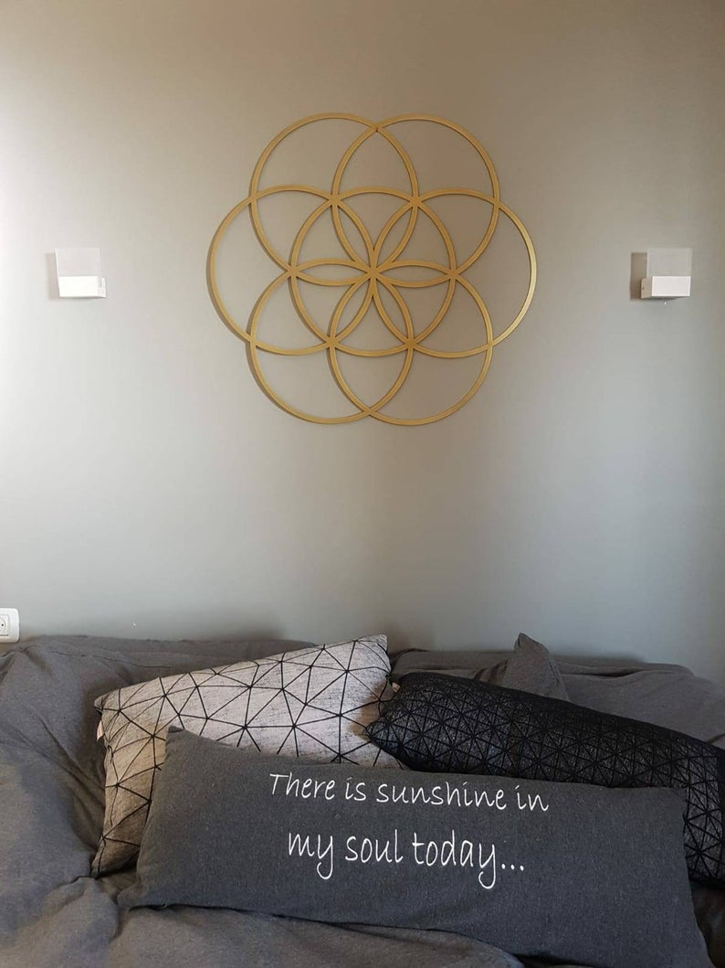 Gold Seed Of Life Metal Wall Art – 70 Cm Diameter Regarding Metal Universal Wall Decor (View 4 of 30)