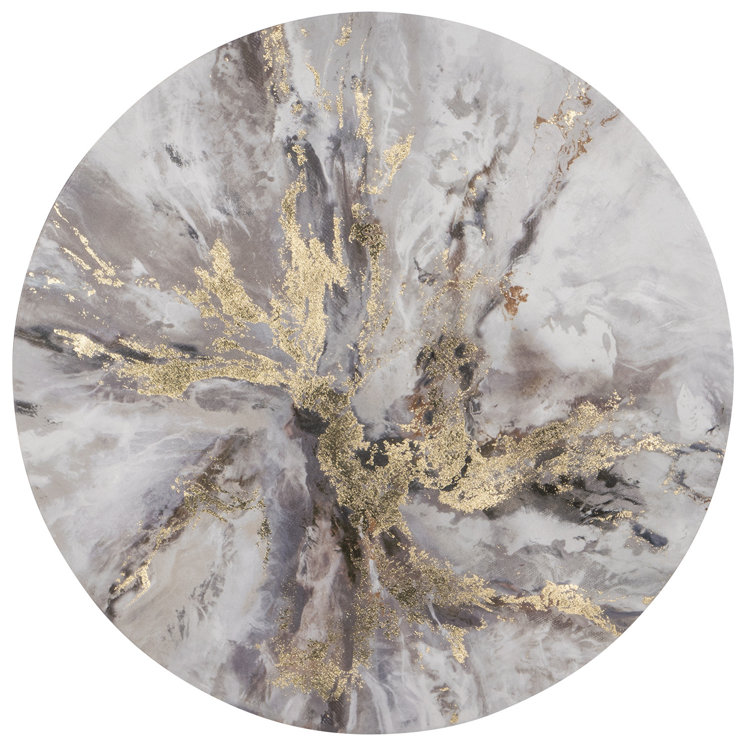 Gold Splash Round Wall Art Intended For Contemporary Abstract Round Wall Decor (View 9 of 30)