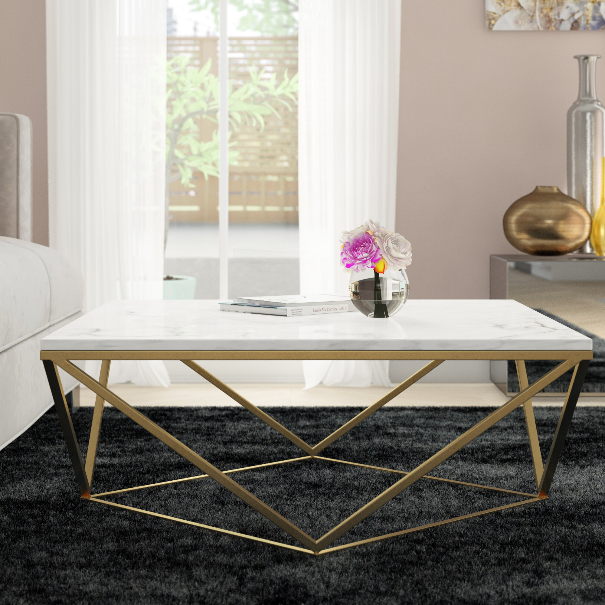 Gold Square Coffee Tables You'll Love In 2019 | Wayfair Pertaining To Robblee 4 Light Geometric Pendants (View 21 of 30)