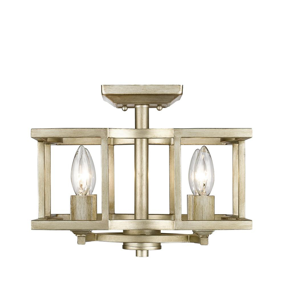 Golden Lighting Bellare 4-Light White Gold Semi-Flush Mount throughout Wightman Drum Chandeliers (Image 14 of 30)