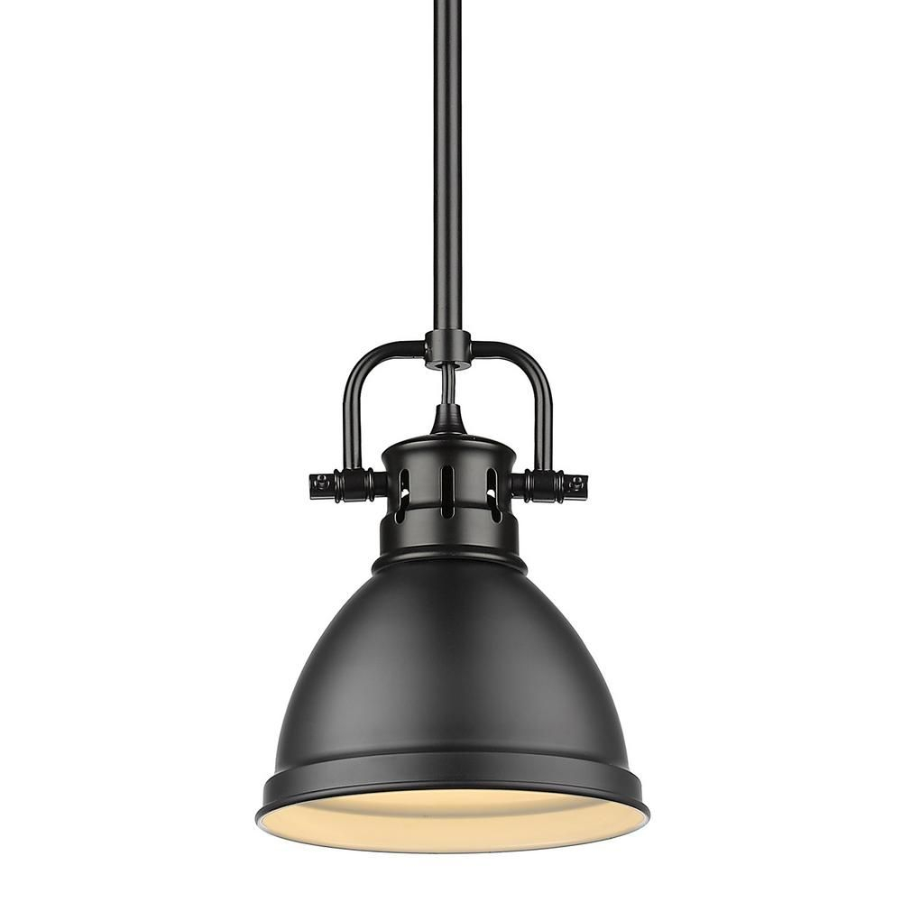 Golden Lighting Duncan 1 Light Black Mini Pendant And Rod Inside Sargent 1 Light Single Bell Pendants (View 12 of 30)