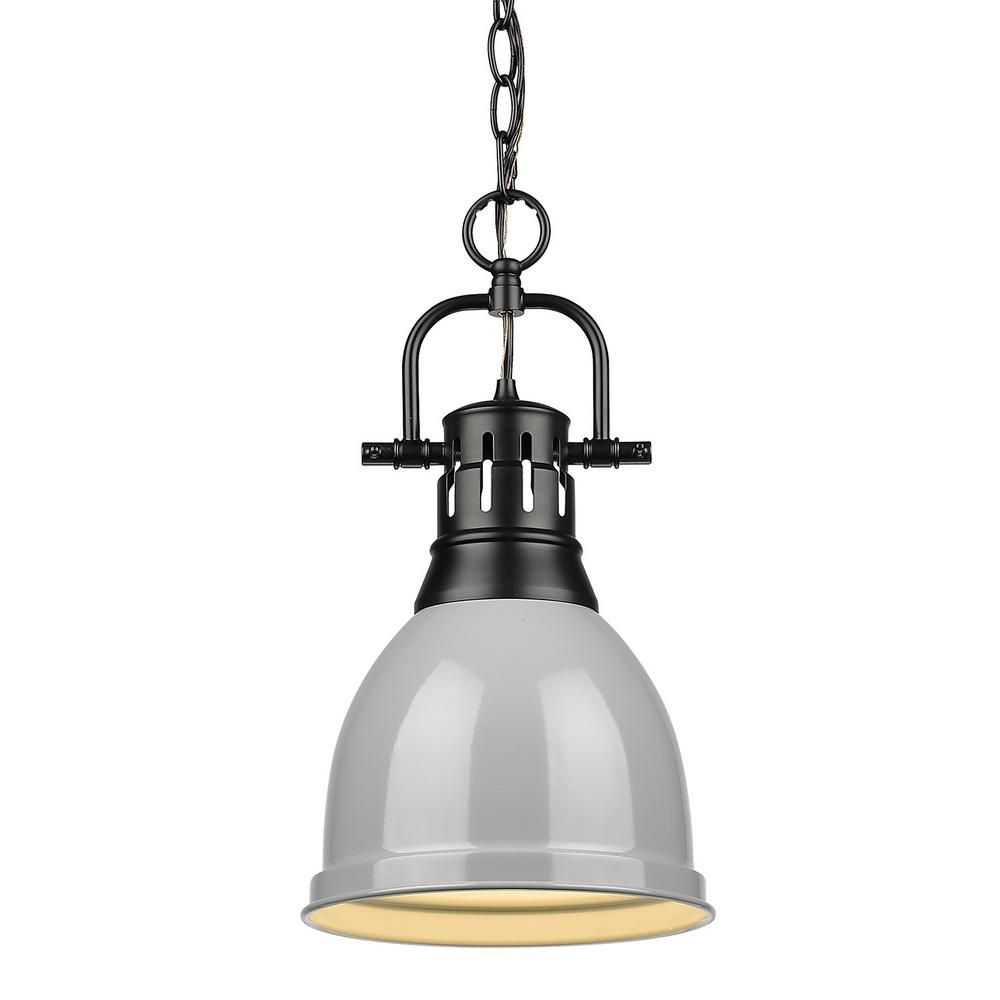 Golden Lighting Duncan 1 Light Black Pendant And Chain With Pertaining To Yarger 1 Light Single Bell Pendants (View 8 of 30)