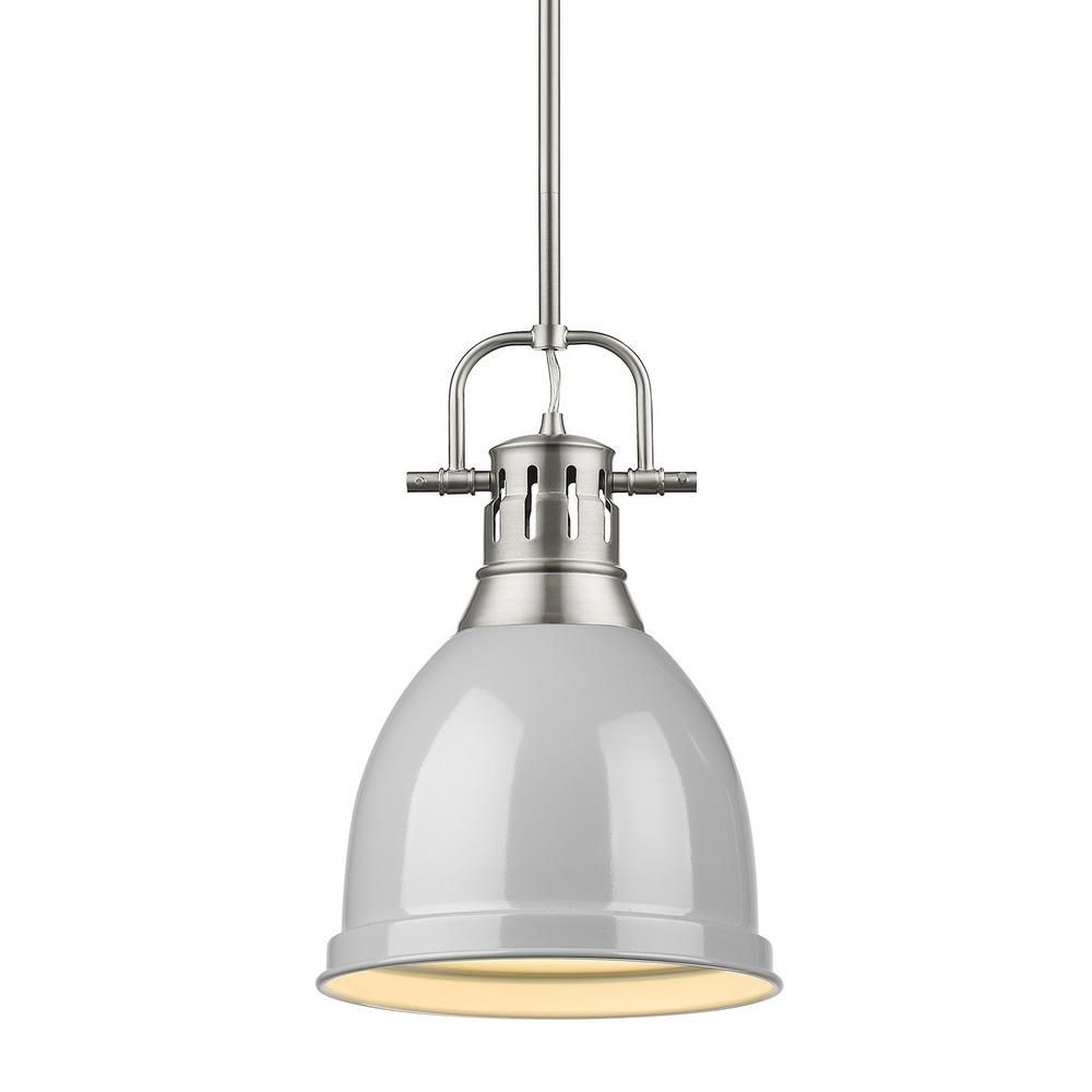 Golden Lighting Duncan 1 Light Pewter Pendant And Rod With Throughout Bodalla 1 Light Single Dome Pendants (View 19 of 30)