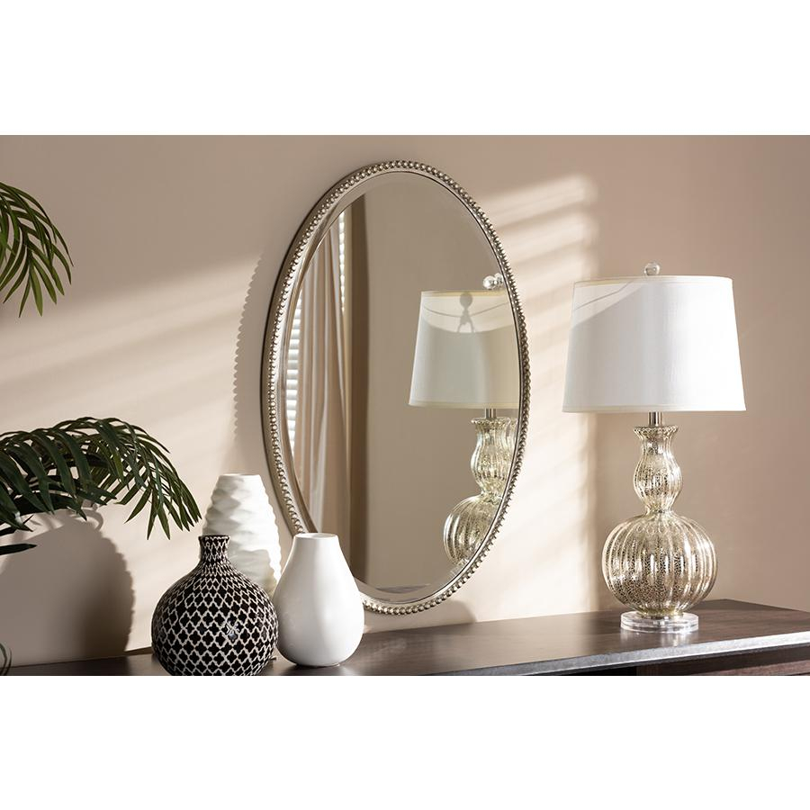 Graca Modern And Contemporary Antique Silver Finished Oval Accent Wall Mirrorbaxton Studio With Regard To Modern & Contemporary Beveled Accent Mirrors (View 15 of 30)