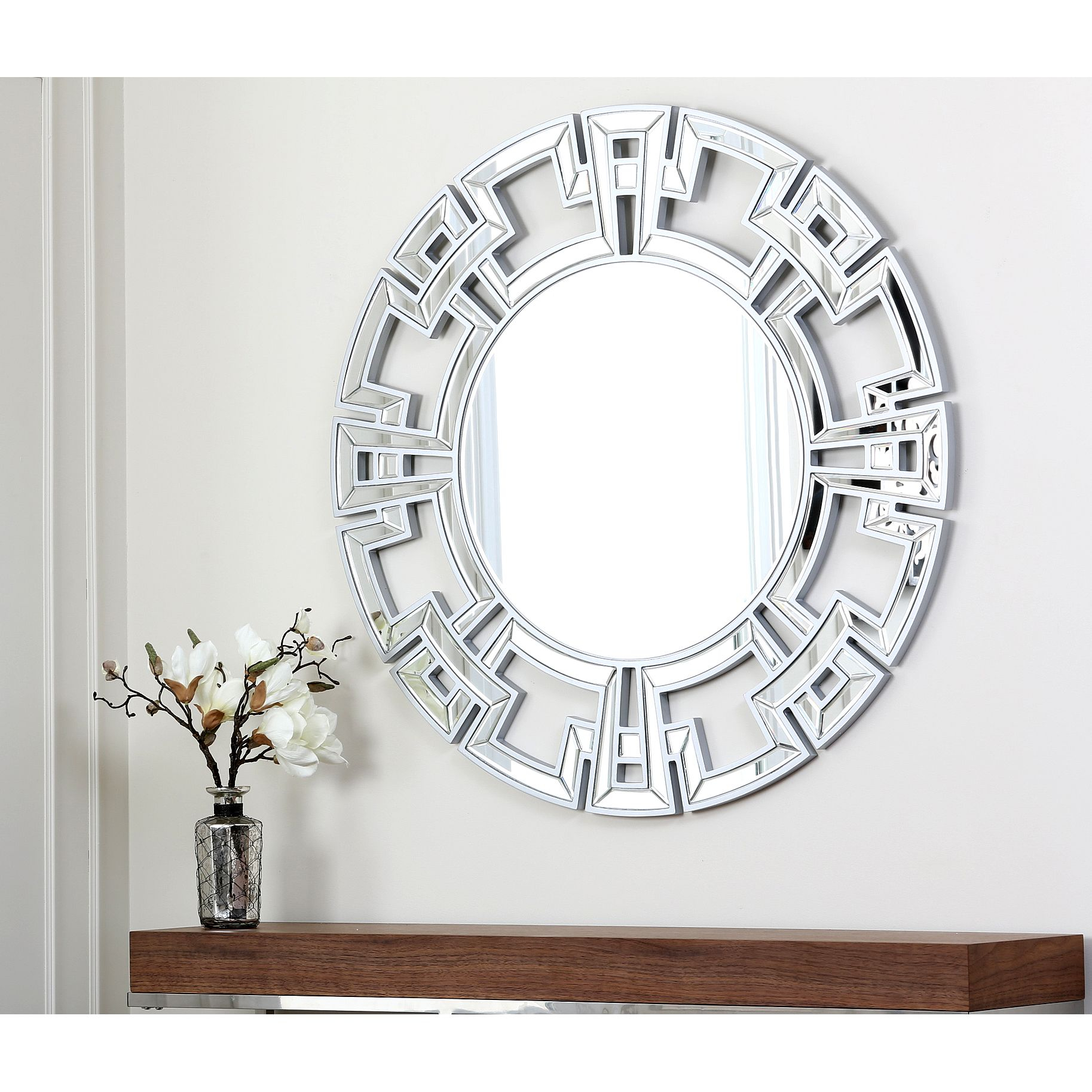 Grace Your Wall With This Round Wall Mirror From Abbyson In Caja Rectangle Glass Frame Wall Mirrors (View 15 of 30)