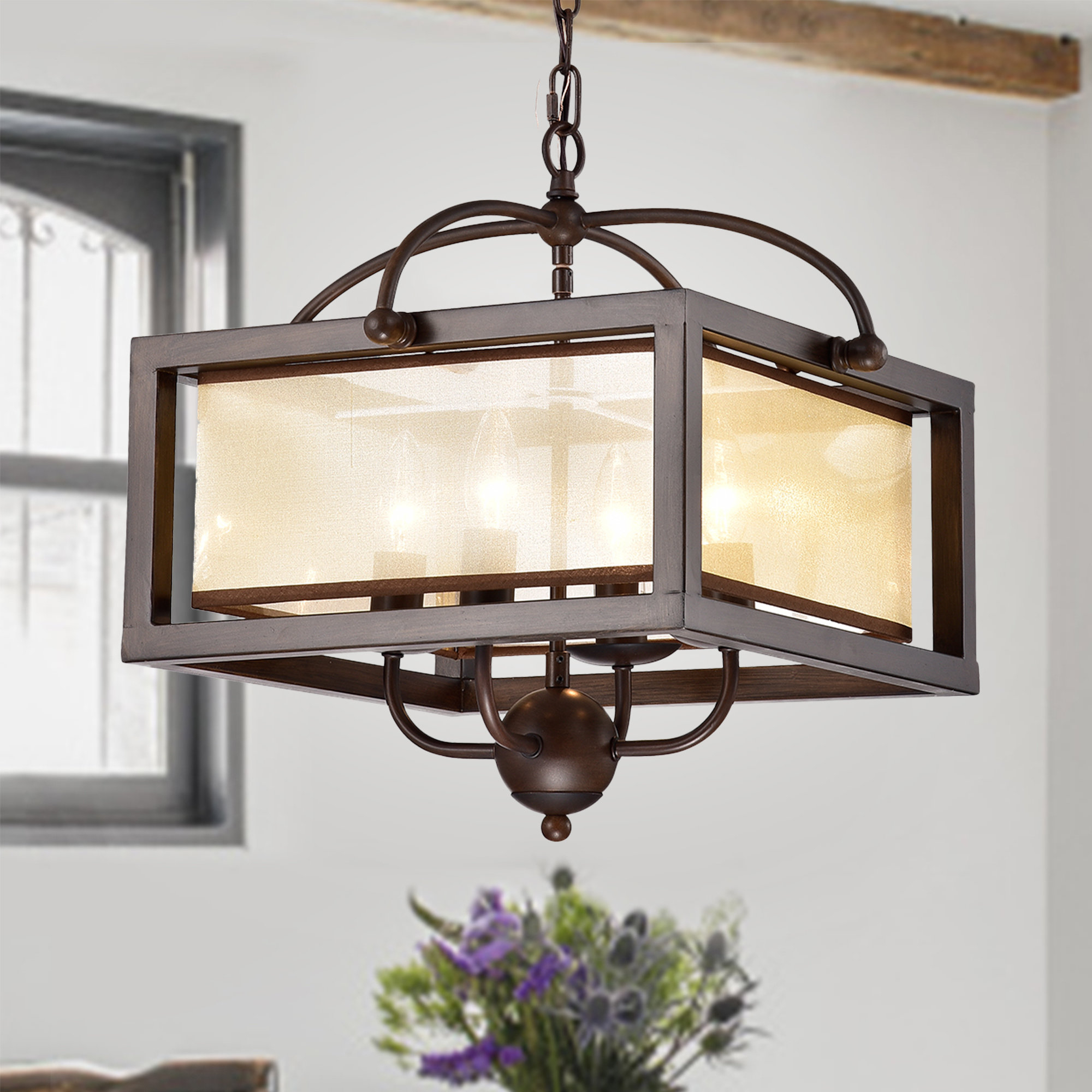 Gracie Oaks Cambra 4 Light Square/rectangle Chandelier Within Ellenton 4 Light Rectangle Chandeliers (View 8 of 30)