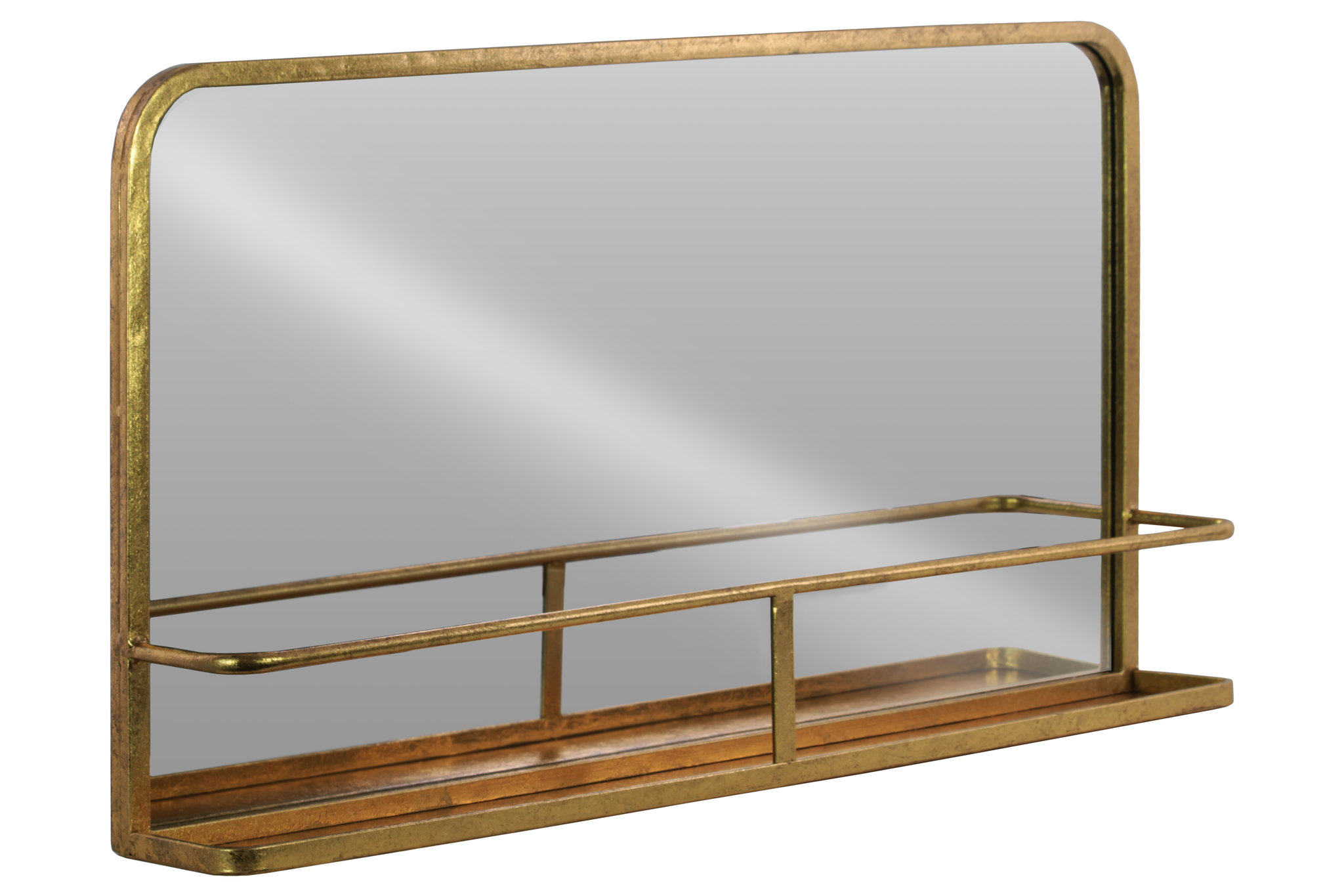 Gracie Oaks Dalston Rectangle Metal Wall Mirror With Shelf intended for Koeller Industrial Metal Wall Mirrors (Image 9 of 30)