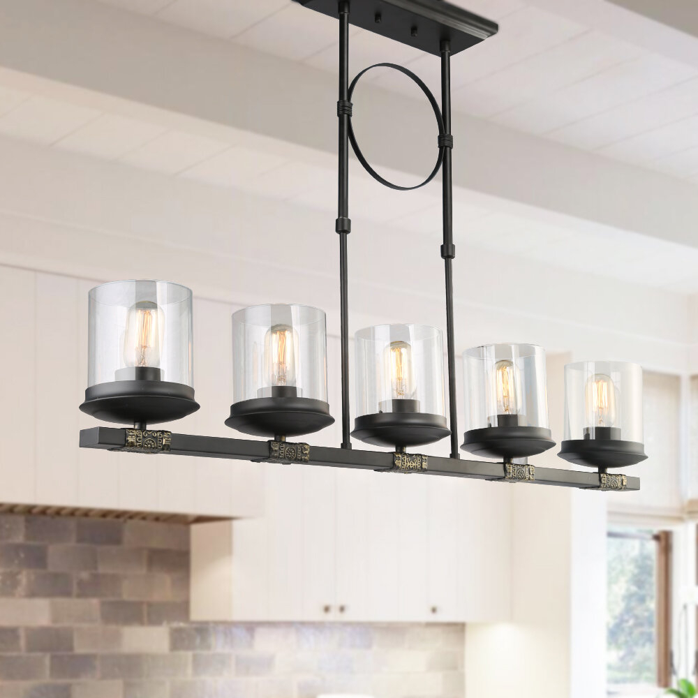 Gracie Oaks Dennis Retro Kitchen Linear Island Pendant Lighting, Clear Glass Shade, Black Finish Pertaining To Smithville 4 Light Kitchen Island Pendants (View 16 of 30)