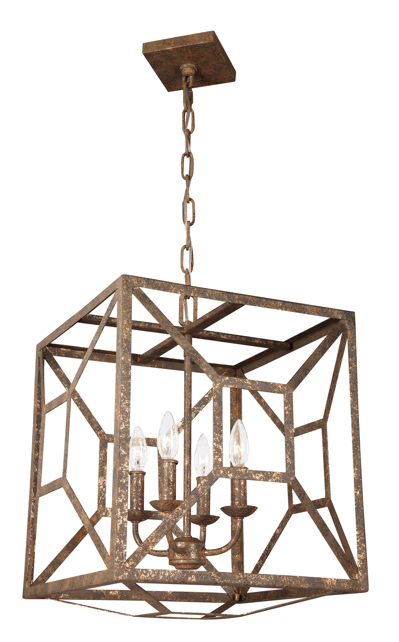 Gracie Oaks Jayanth 4-Light Square/rectangle Chandelier intended for Delon 4-Light Square Chandeliers (Image 15 of 30)