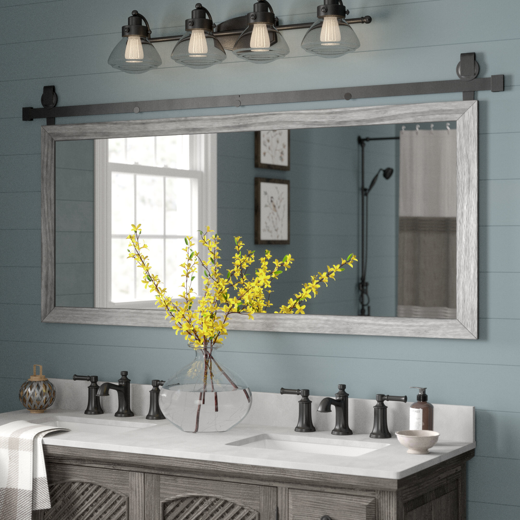 Gracie Oaks Nicholle Bathroom/vanity Mirror & Reviews | Wayfair Intended For Landover Rustic Distressed Bathroom/vanity Mirrors (View 14 of 30)