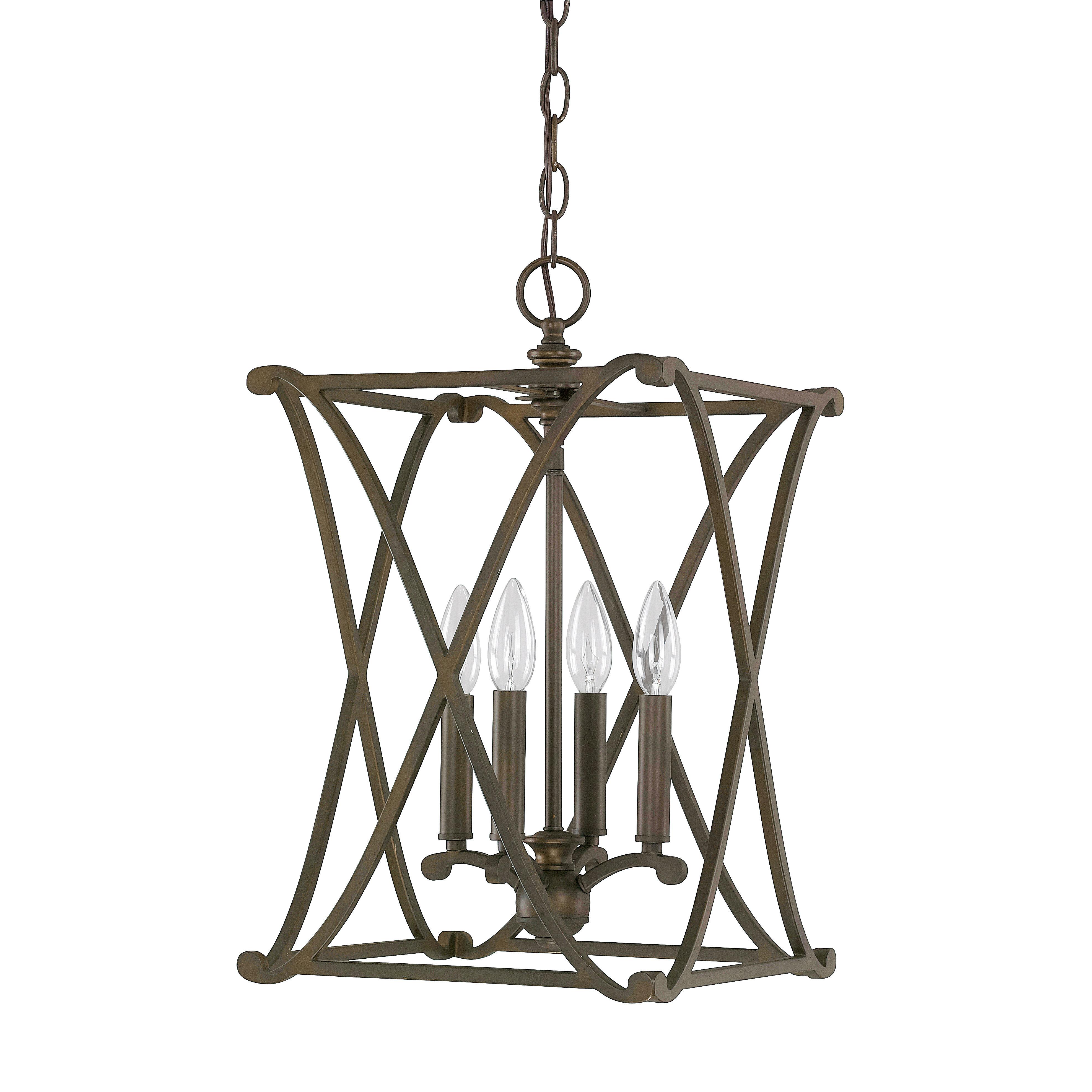 Gracie Oaks Nisbet 4 Light Square/rectangle Pendant Pertaining To Freeburg 4 Light Lantern Square / Rectangle Pendants (View 8 of 30)