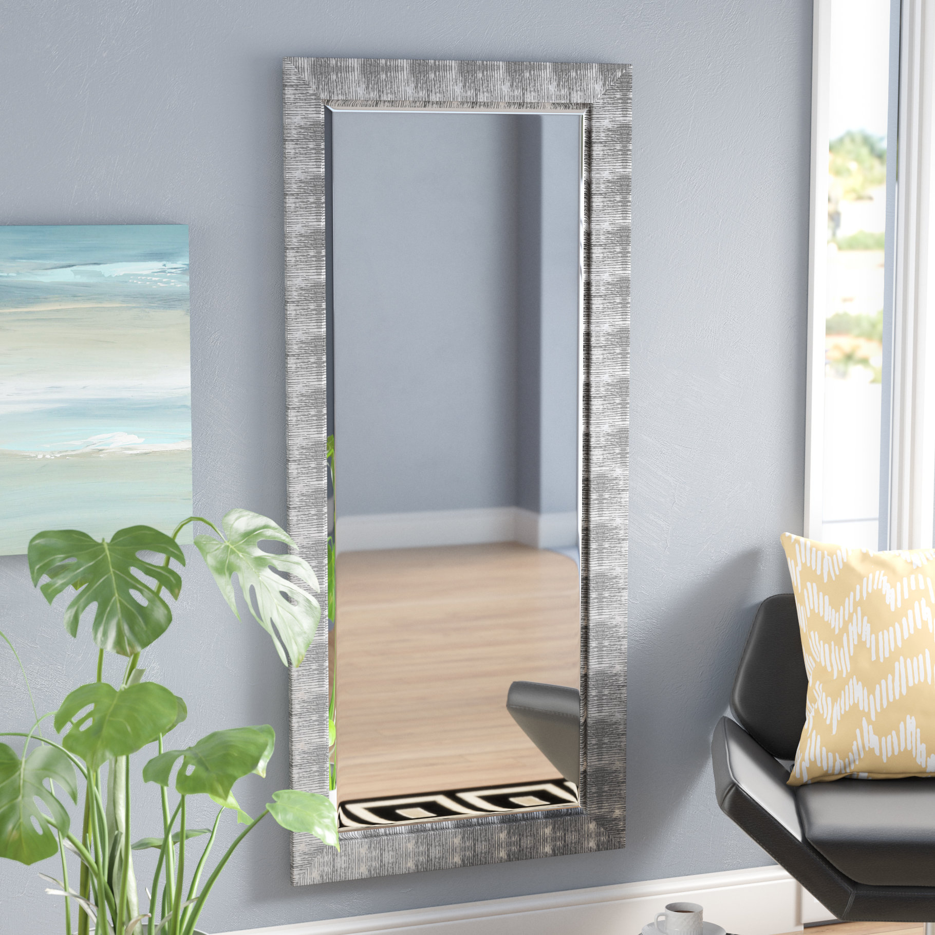 Grain Texture Modern & Contemporary Beveled Wall Mirror Within Epinal Shabby Elegance Wall Mirrors (View 15 of 30)