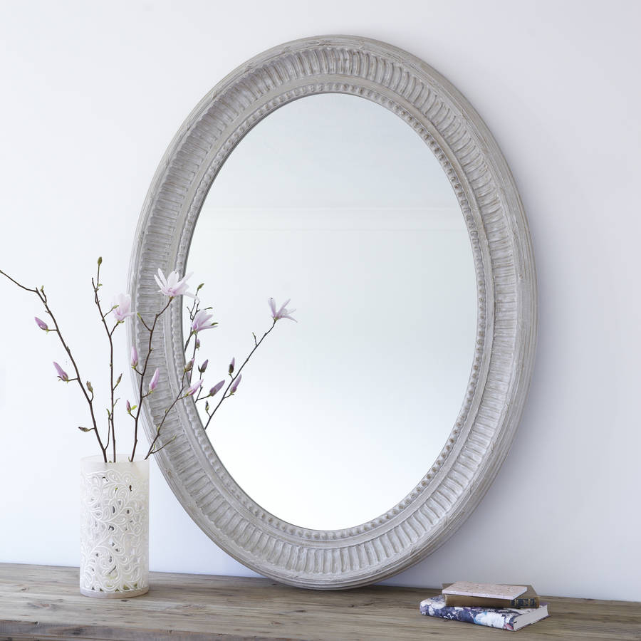 Grand Grey Oval Wooden Wall Mirror Inside Oval Wood Wall Mirrors (View 12 of 30)