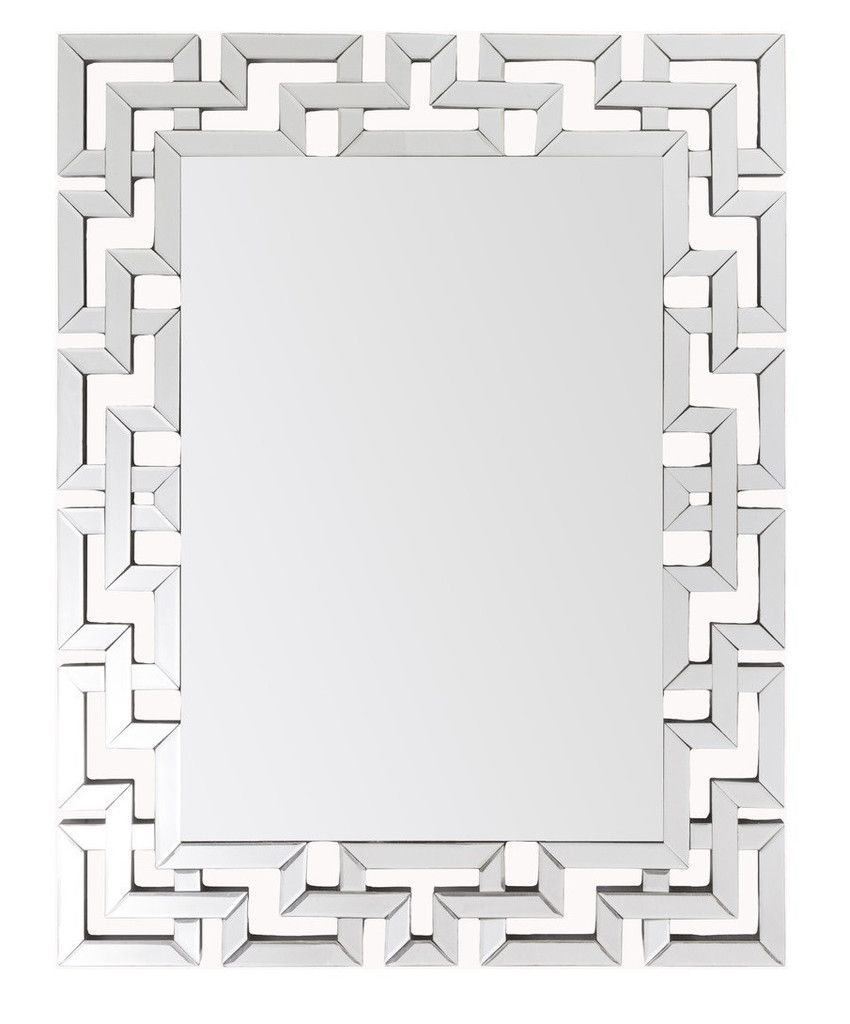 Greek Key Modern Mirror – Large Silver Frame Mirrors With Caja Rectangle Glass Frame Wall Mirrors (View 17 of 30)
