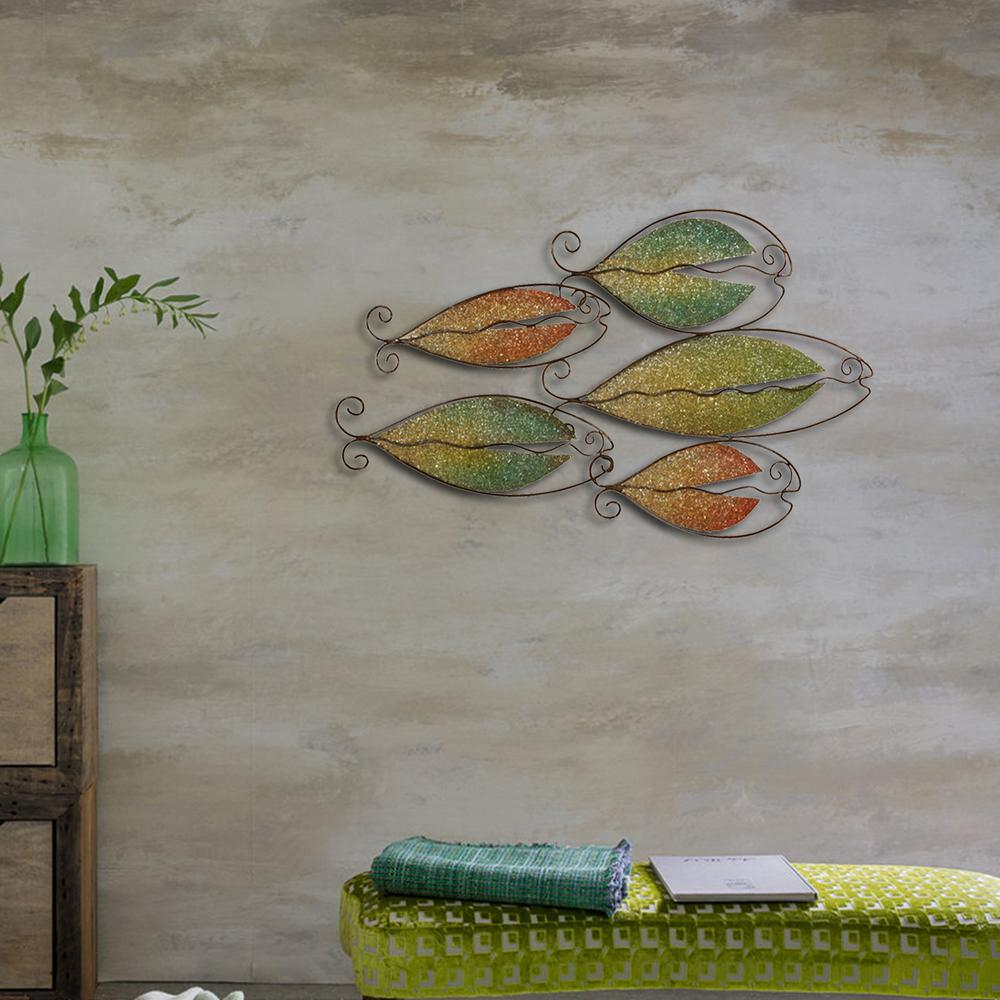 Green And Gold School Of Fish Metal Work Wall Decor Intended For Oil Rubbed Metal Wall Decor (View 14 of 30)