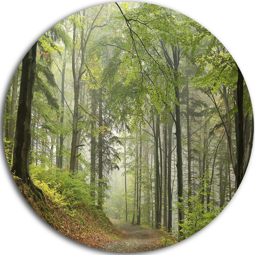 "Green Beach Forest Pathway, Landscape Photo Round Metal Wall Art, 23"" Intended For Contemporary Forest Metal Wall Decor (View 9 of 30)"