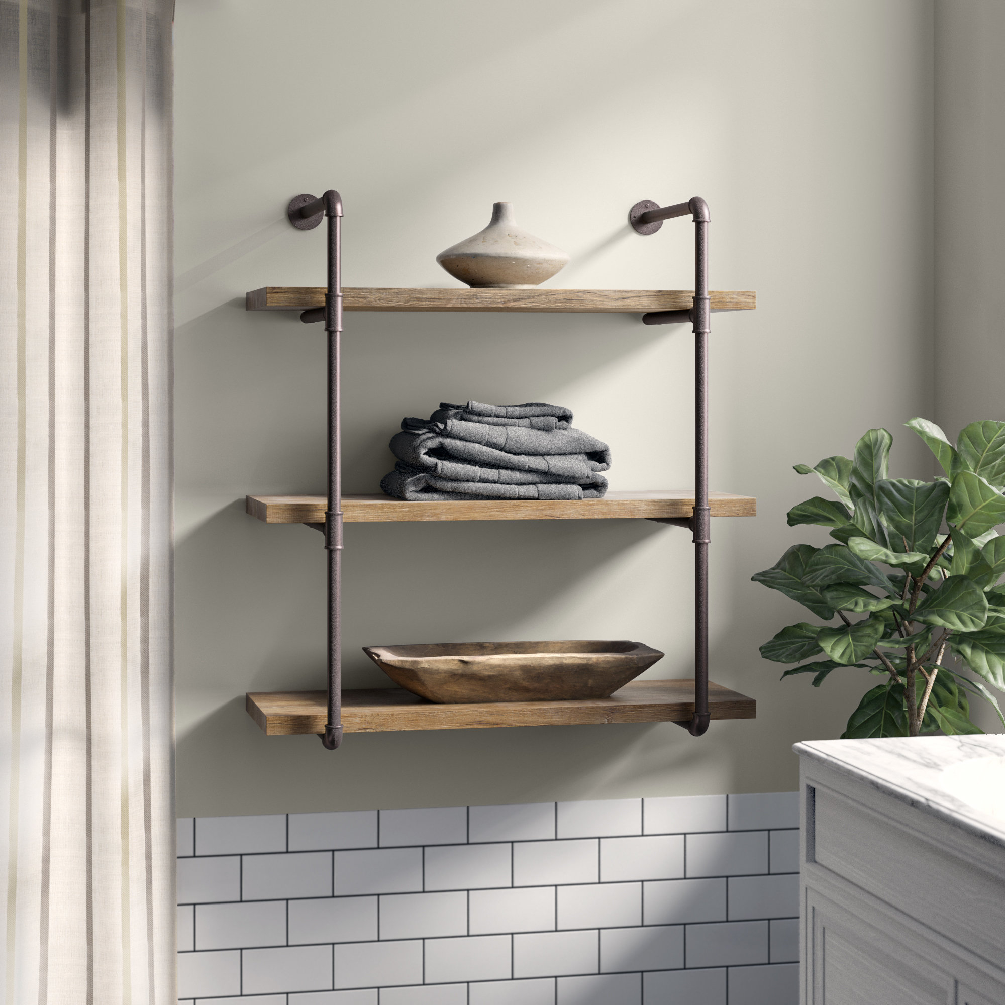 Greyleigh Kennard 3 Tier Wall Shelf & Reviews | Wayfair Within Farm Metal Wall Rack And 3 Tin Pot With Hanger Wall Decor (View 6 of 30)