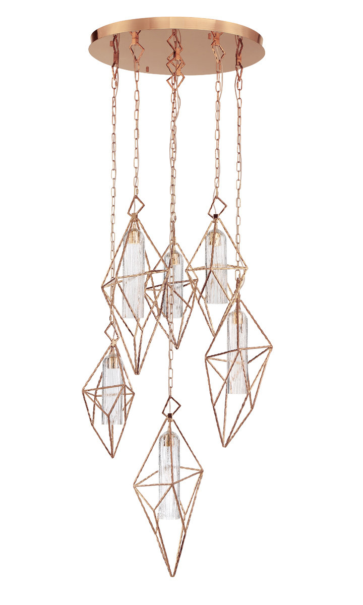 Guajardo 6 Light Cluster Geometric Pendant For Hydetown 1 Light Single Geometric Pendants (View 20 of 30)