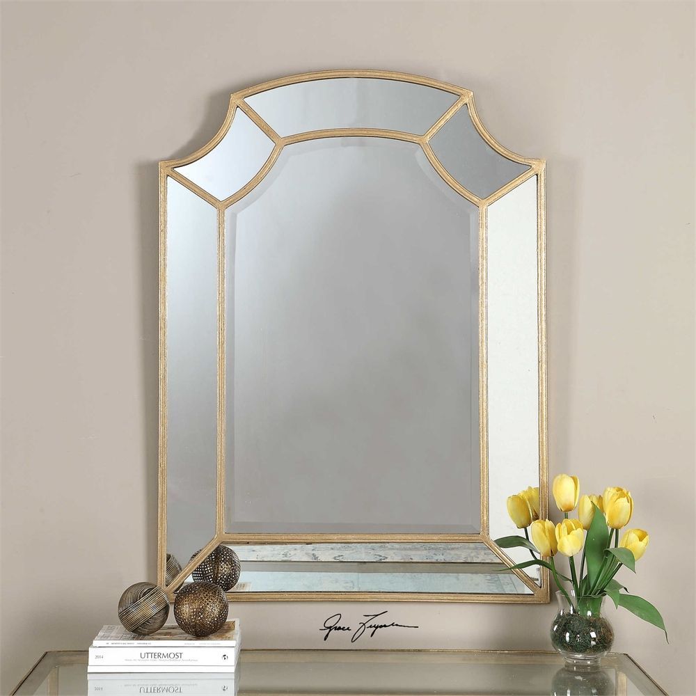 Guest Bath 32X44 Uttermost Francolin Gold Arch Mirror Pertaining To Gold Arch Wall Mirrors (View 17 of 30)