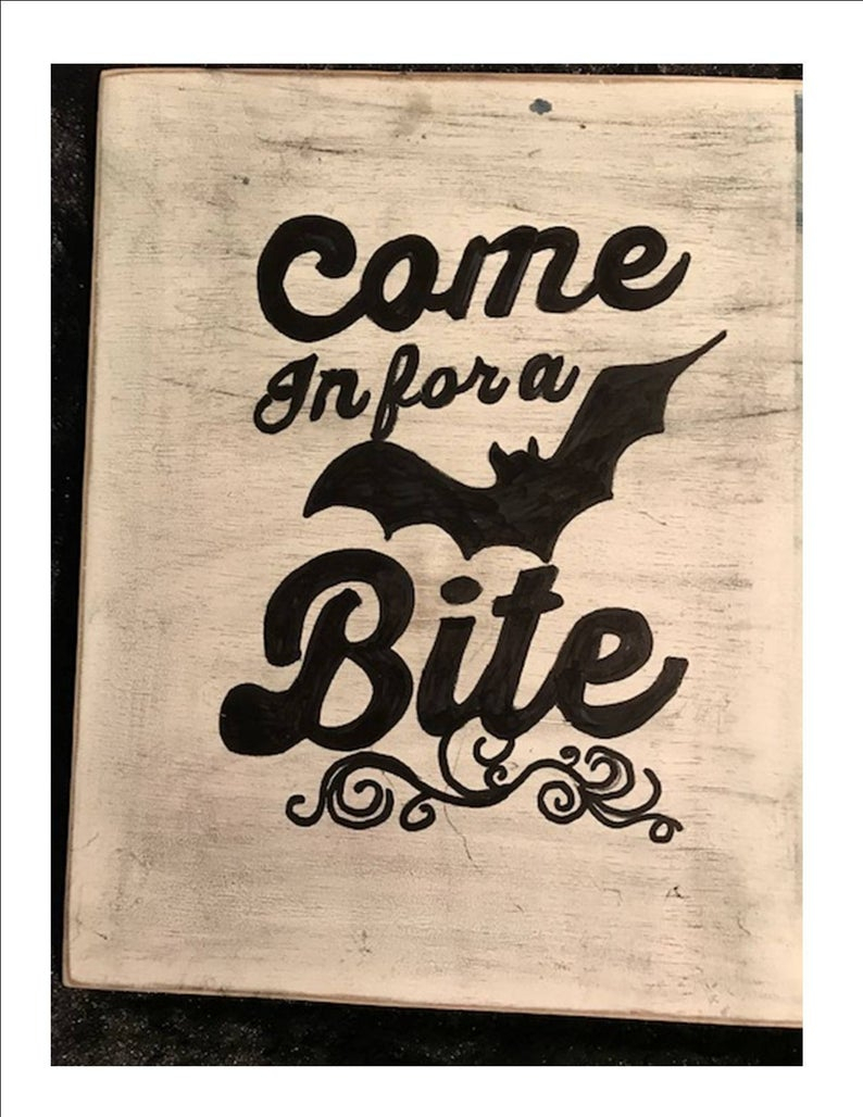 """Halloween Sign, Come In For A Bite, Trick Or Treat, Black And White, 10 X 12, Home Decor, Holiday Decor, Wall Hanging Regarding Grey """"eat"""" Sign With Rebar Decor (View 24 of 30)"""