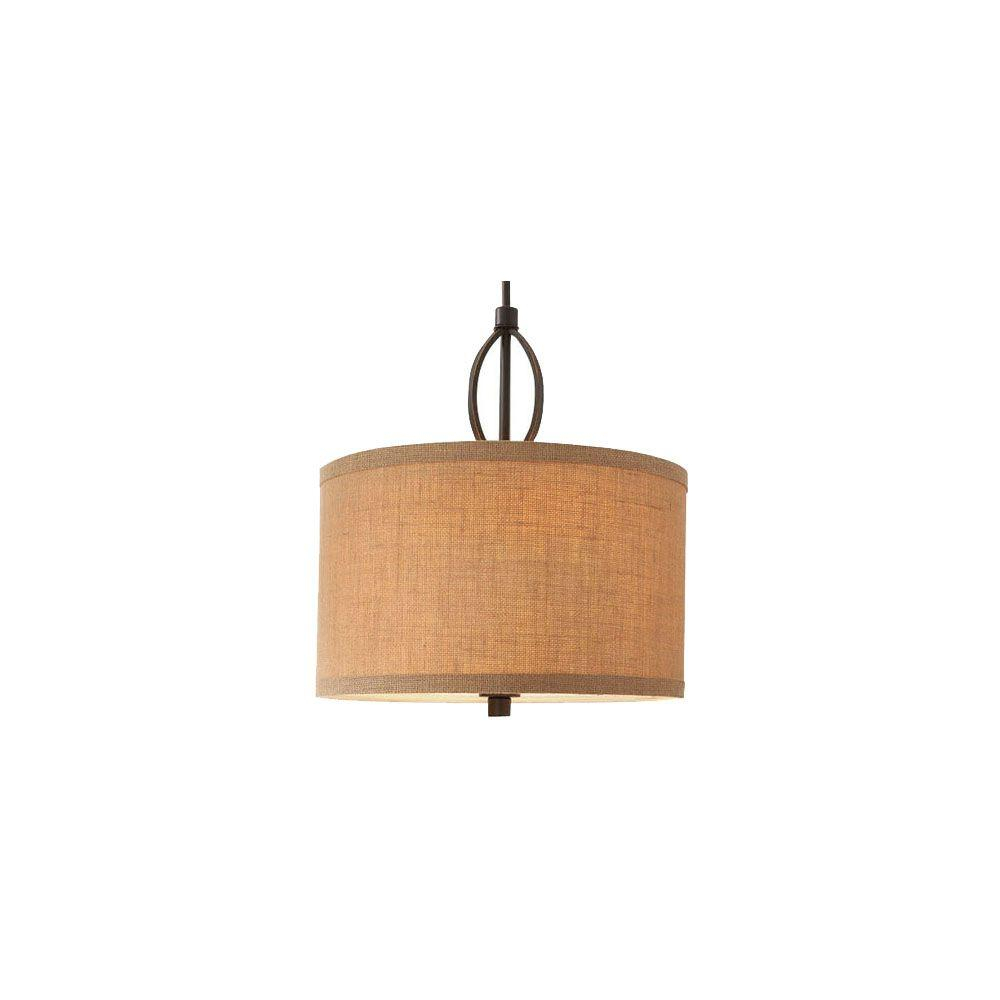 Hampton Bay 3 Light Oil Rubbed Bronze Pendant With Burlap Drum Shade And Hardwire Or Plug In Kit Regarding Jill 4 Light Drum Chandeliers (View 22 of 30)