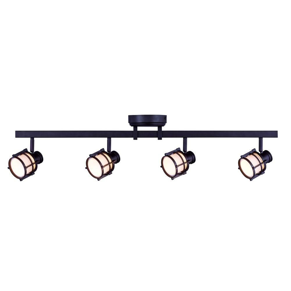 Hampton Bay 4 Light Antique Bronze Directional Led Track Intended For Schutt 4 Light Kitchen Island Pendants (View 10 of 30)