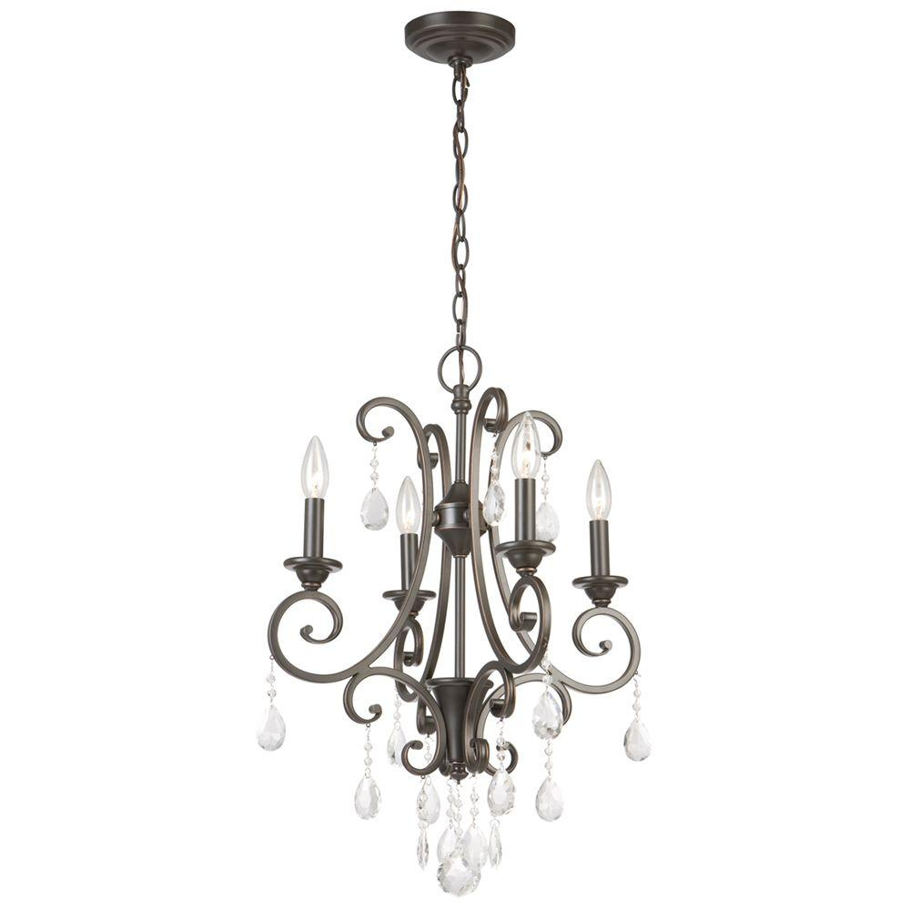 Hampton Bay 4 Light Oil Rubbed Bronze Crystal Small Chandelier For Clea 3 Light Crystal Chandeliers (View 17 of 30)