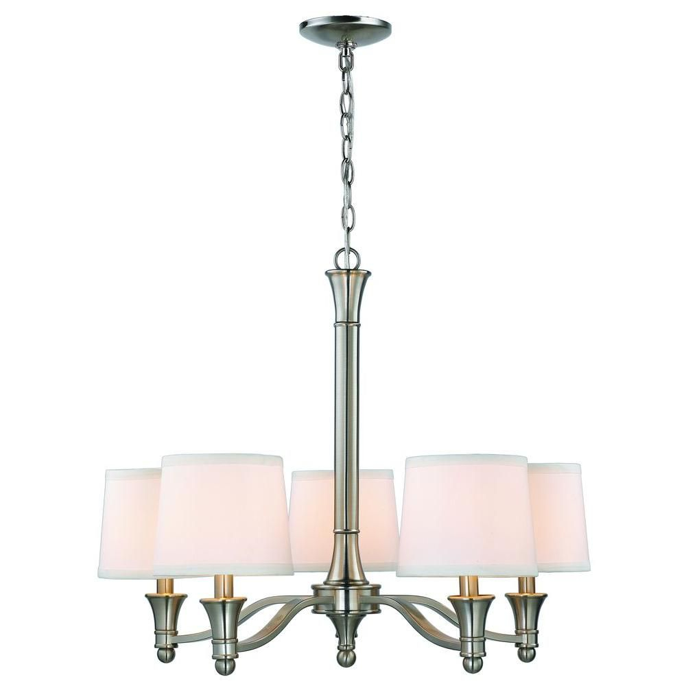 Hampton Bay 5 Light Brushed Nickel Chandelier With White For Crofoot 5 Light Shaded Chandeliers (View 14 of 30)