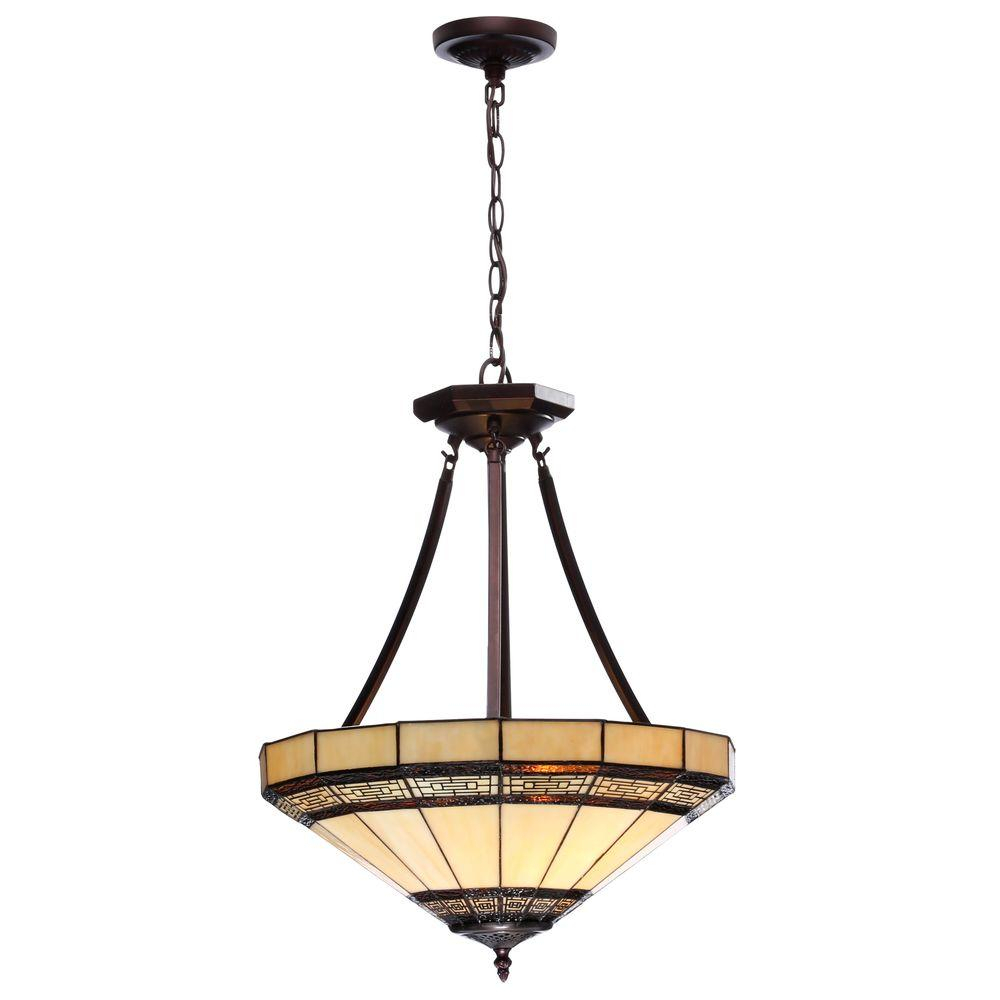Hampton Bay Addison 2 Light Oil Rubbed Bronze Pendant With Tiffany Style Stained Glass Shades Intended For 1 Light Single Star Pendants (View 17 of 30)